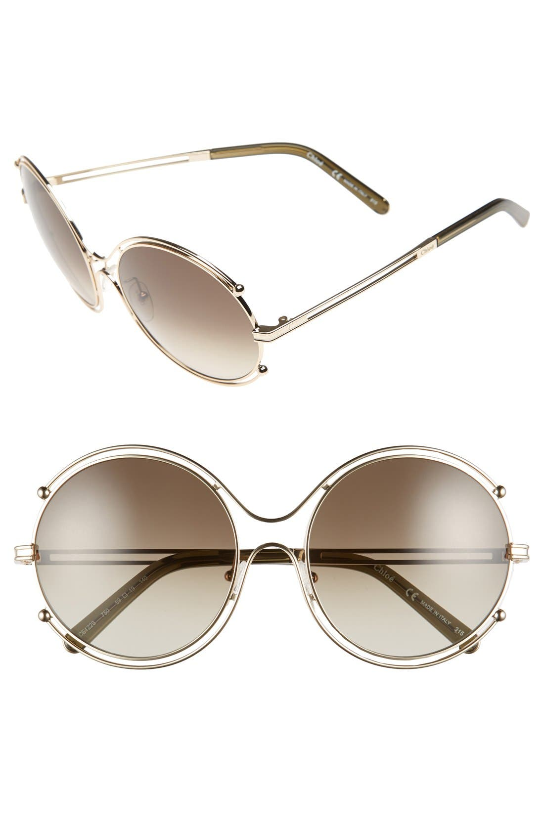 CHLOÉ,                             'Isidora' 59mm Round Sunglasses,                             Main thumbnail 1, color,                             710