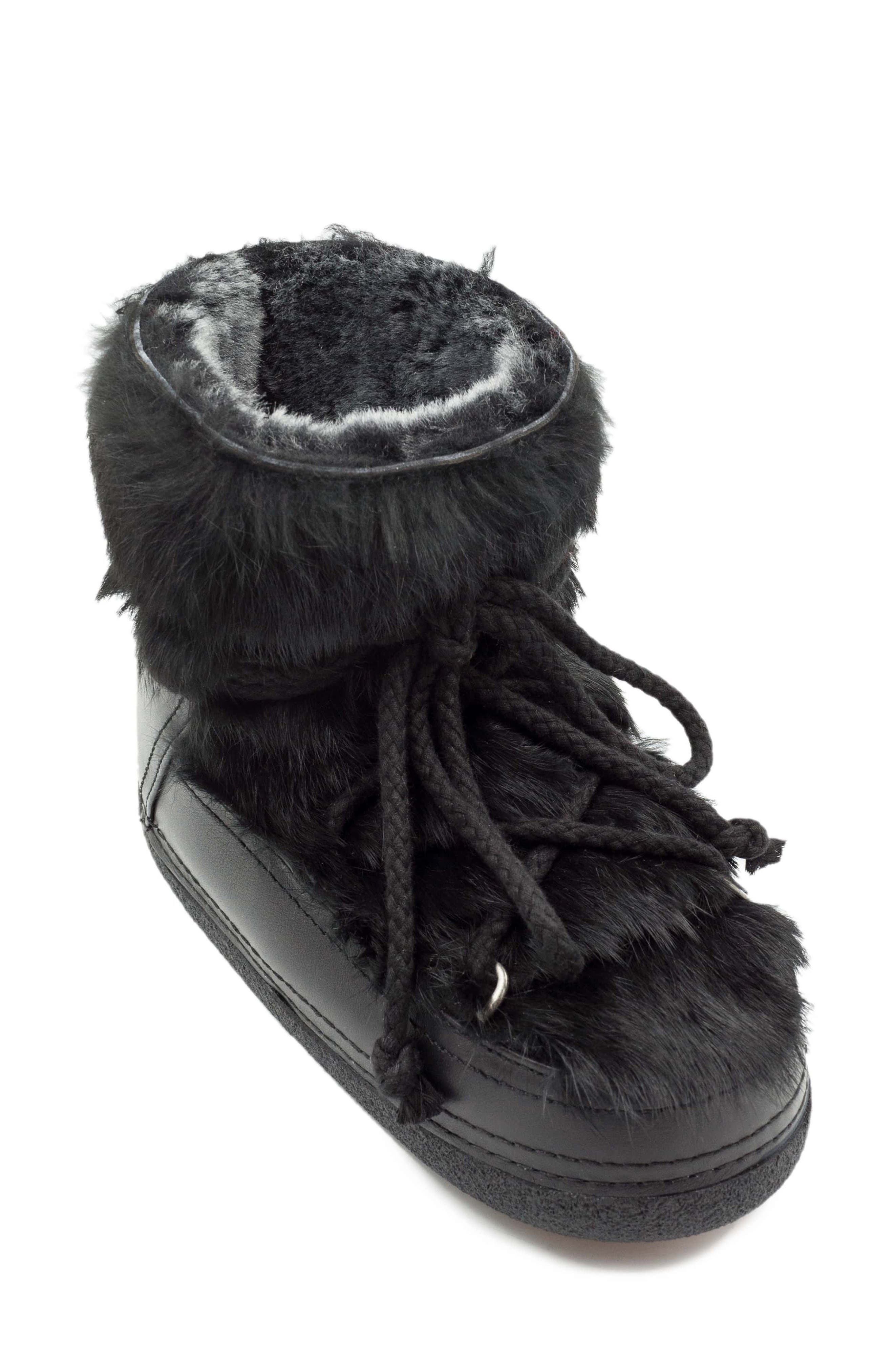 Genuine Rabbit Fur & Leather Bootie,                             Main thumbnail 1, color,                             BLACK
