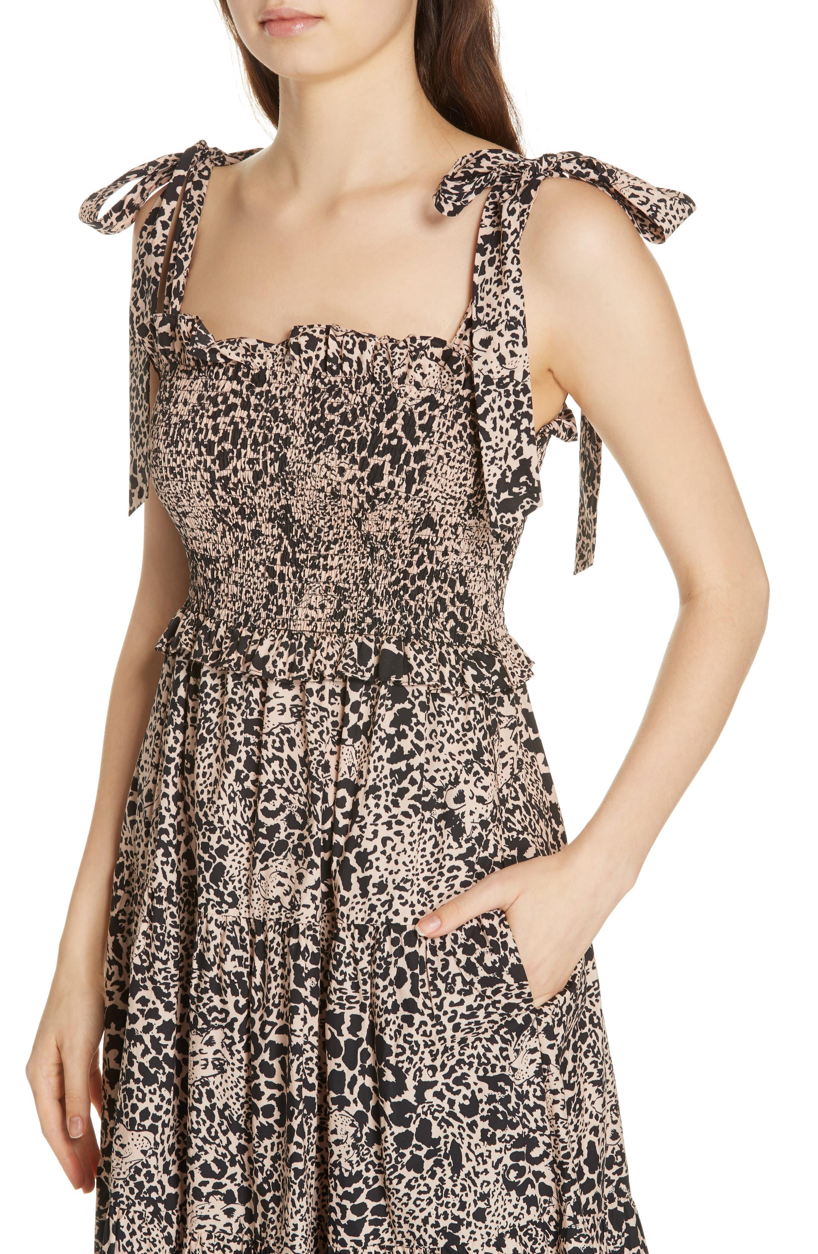 Leopard Print Smocked Dress,                             Alternate thumbnail 4, color,                             CHAMPAGNE COMBO