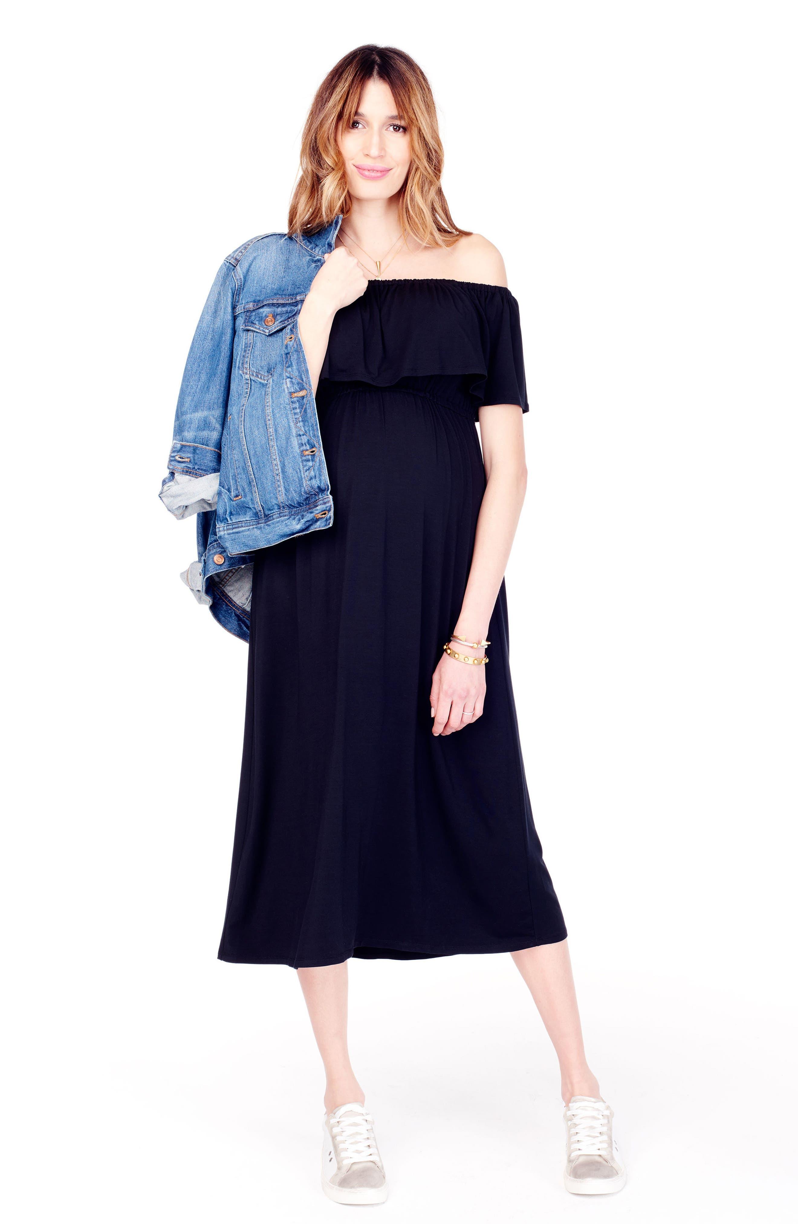 Off the Shoulder Maternity Midi Dress,                             Alternate thumbnail 4, color,                             JET BLACK