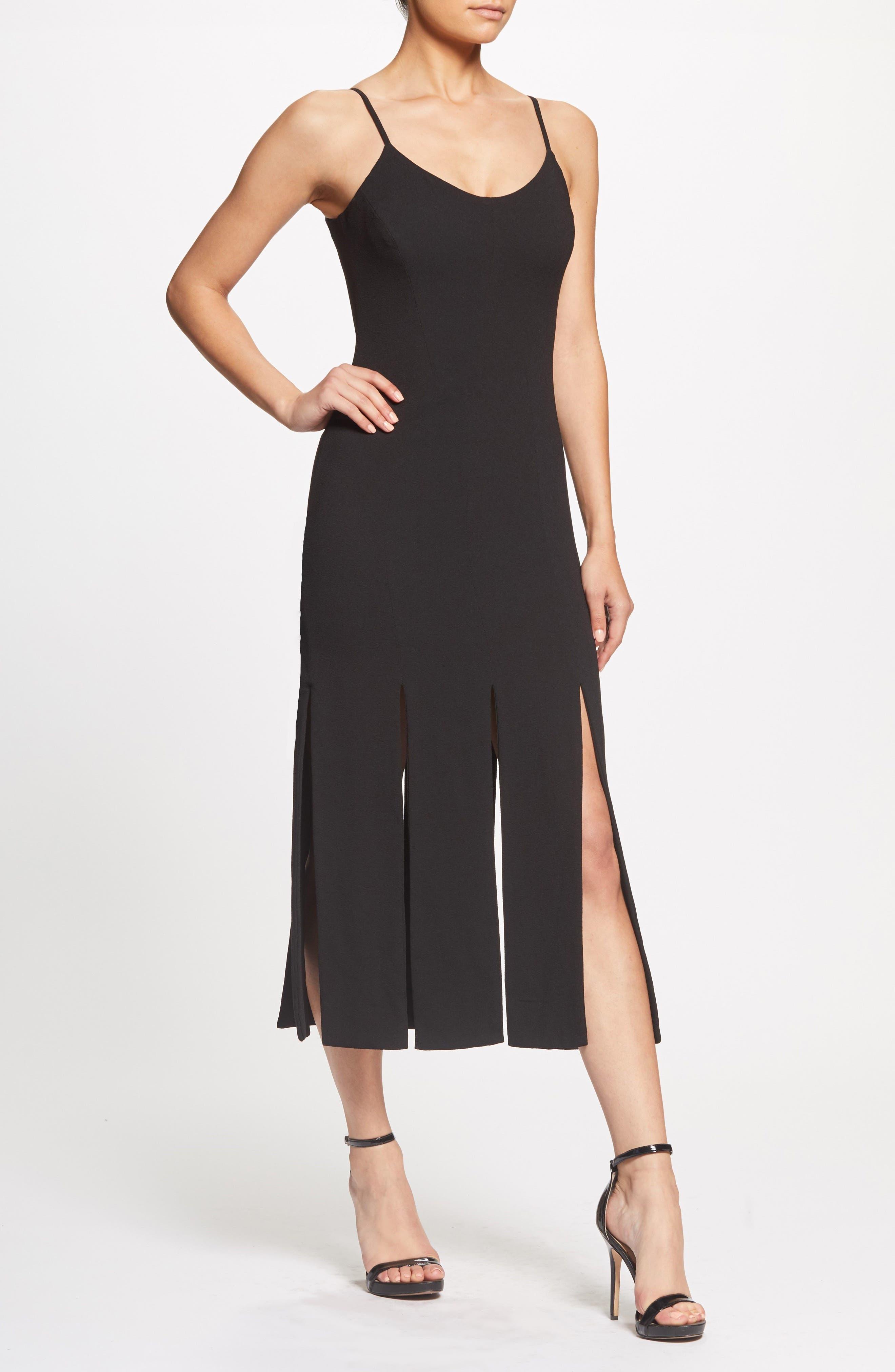 Devon Midi Dress,                             Alternate thumbnail 7, color,                             BLACK