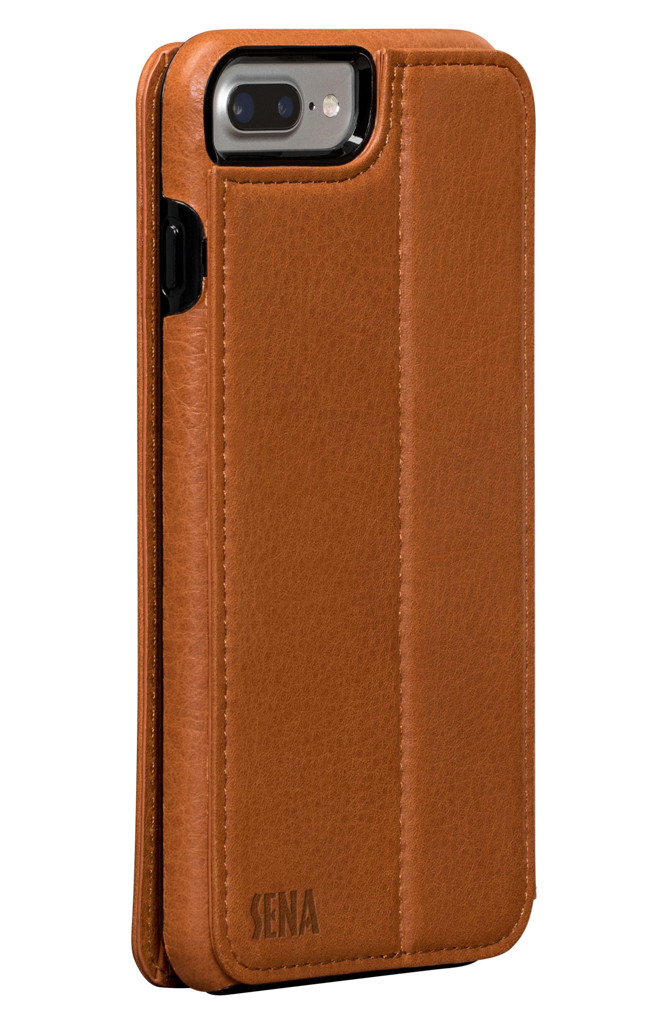 Bence iPhone 7/8 Plus Walletbook,                             Alternate thumbnail 3, color,                             SADDLE