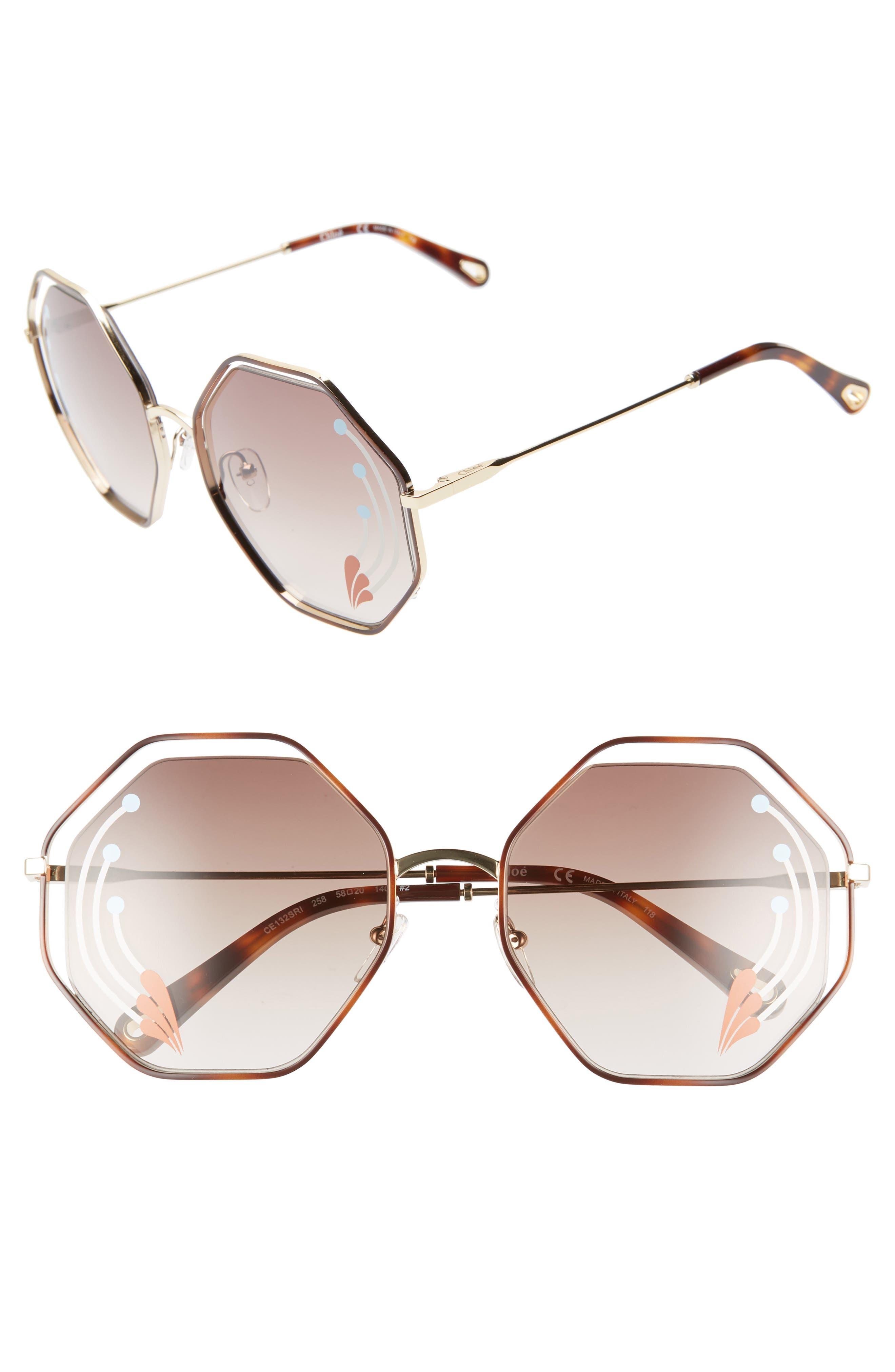 Poppy 58mm Octagonal Halo Lens Sunglasses,                         Main,                         color, HAVANA/ GOLD BROWN W PRINT