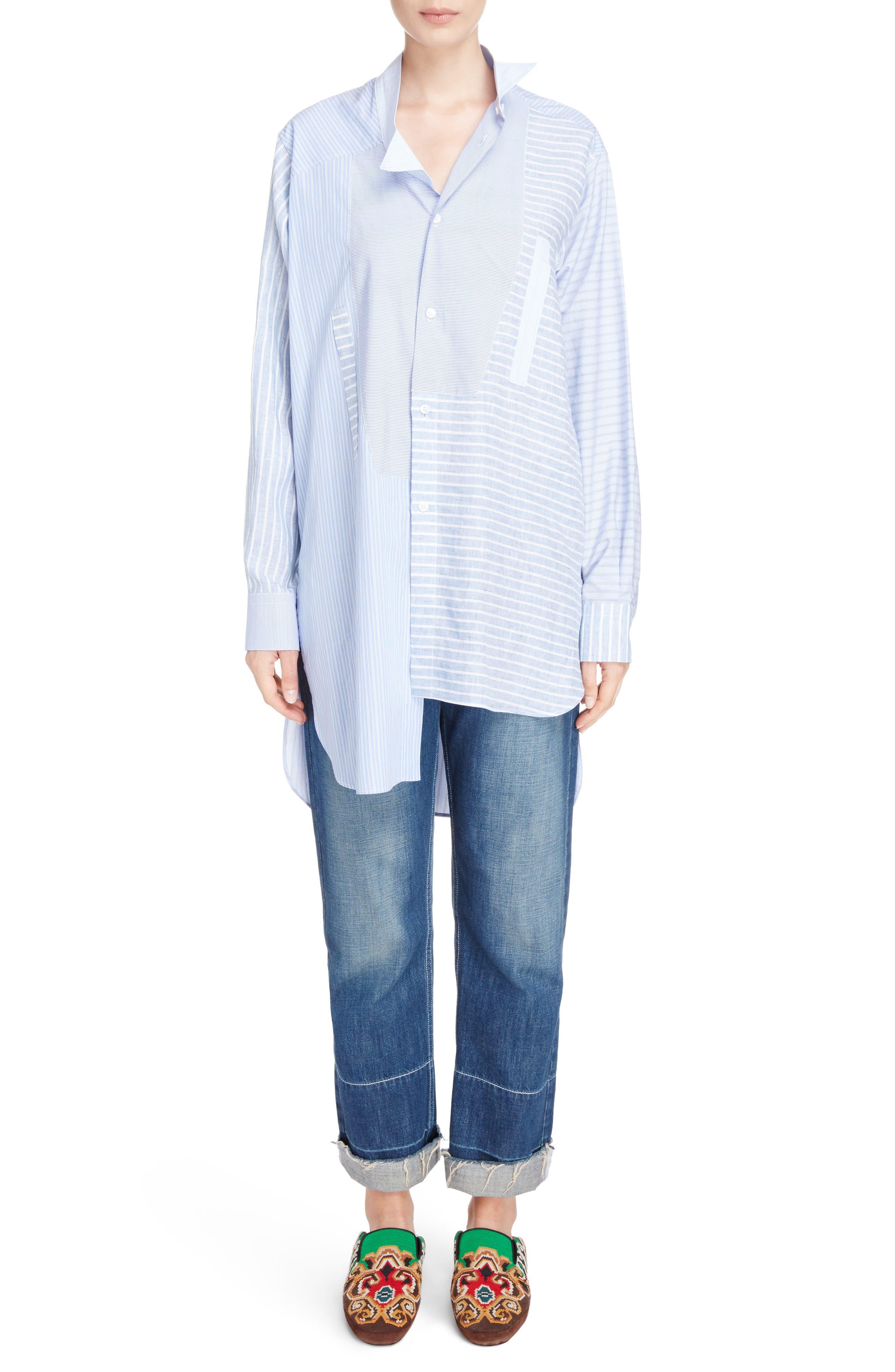 Patchwork Cotton & Linen Shirt,                             Alternate thumbnail 6, color,                             469