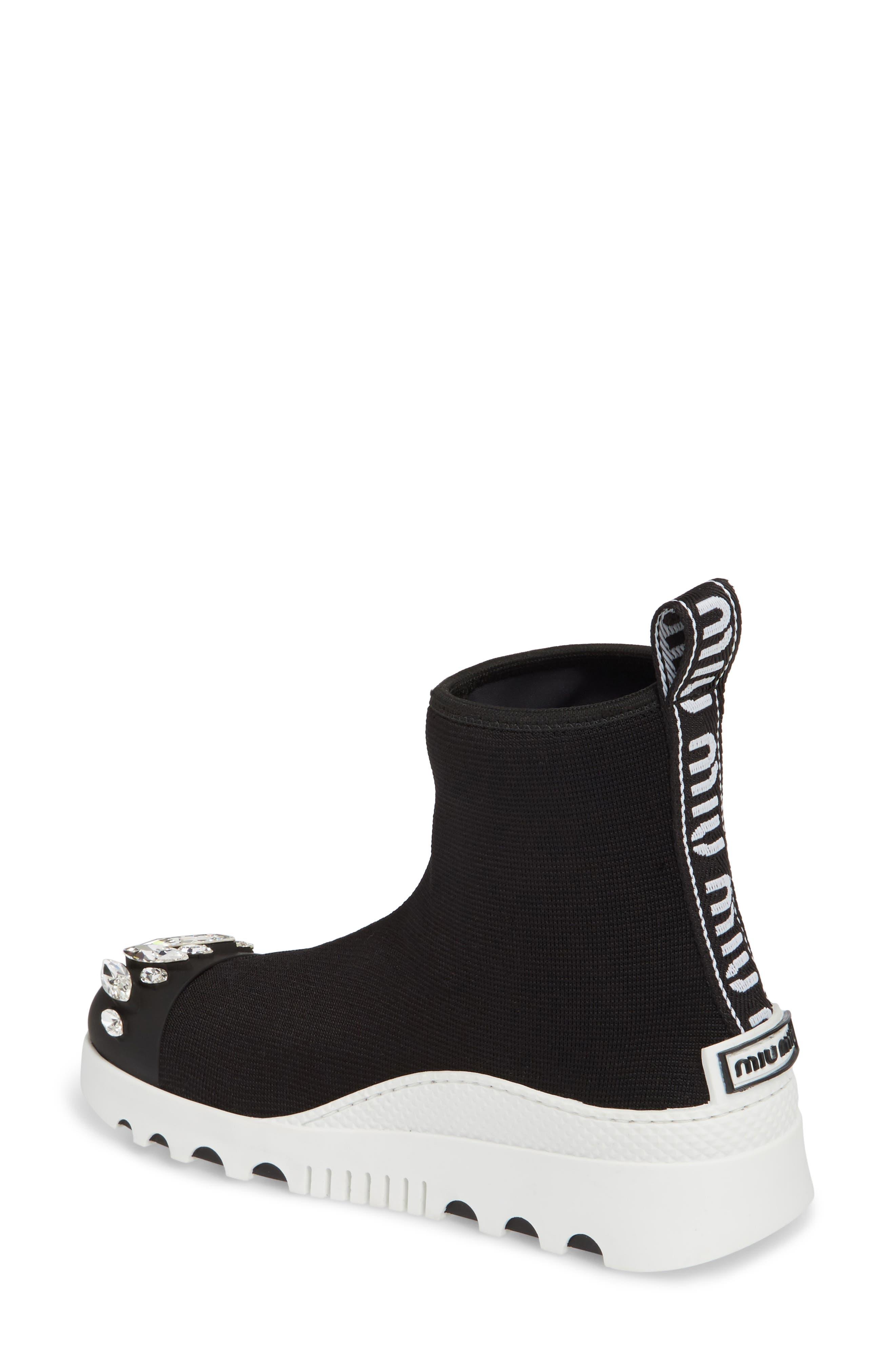 Embellished Sock Boot,                             Alternate thumbnail 2, color,                             BLACK
