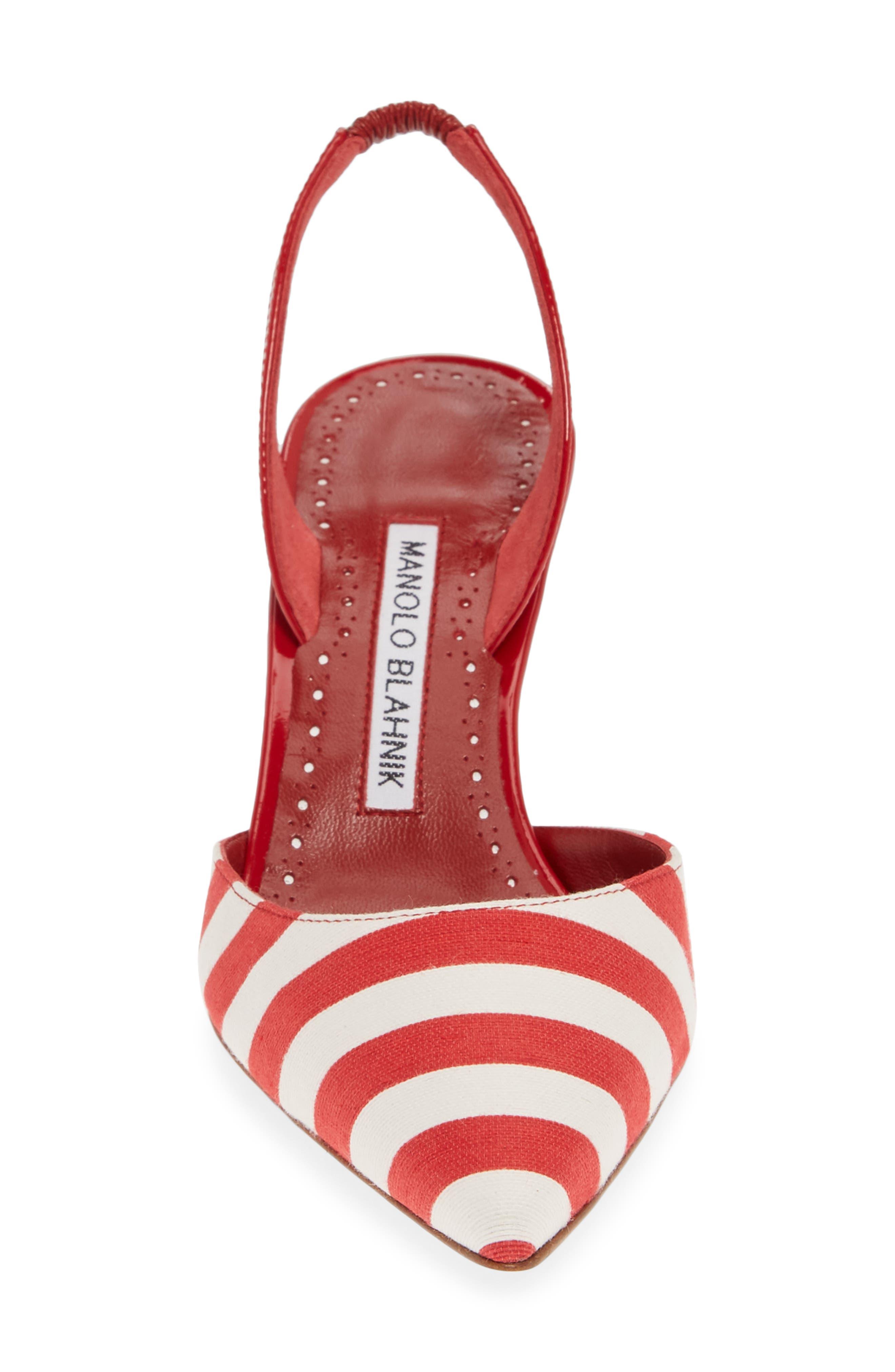 'Carolyne' Pointy Toe Slingback Pump,                             Alternate thumbnail 4, color,                             RED/ WHITE STRIPE
