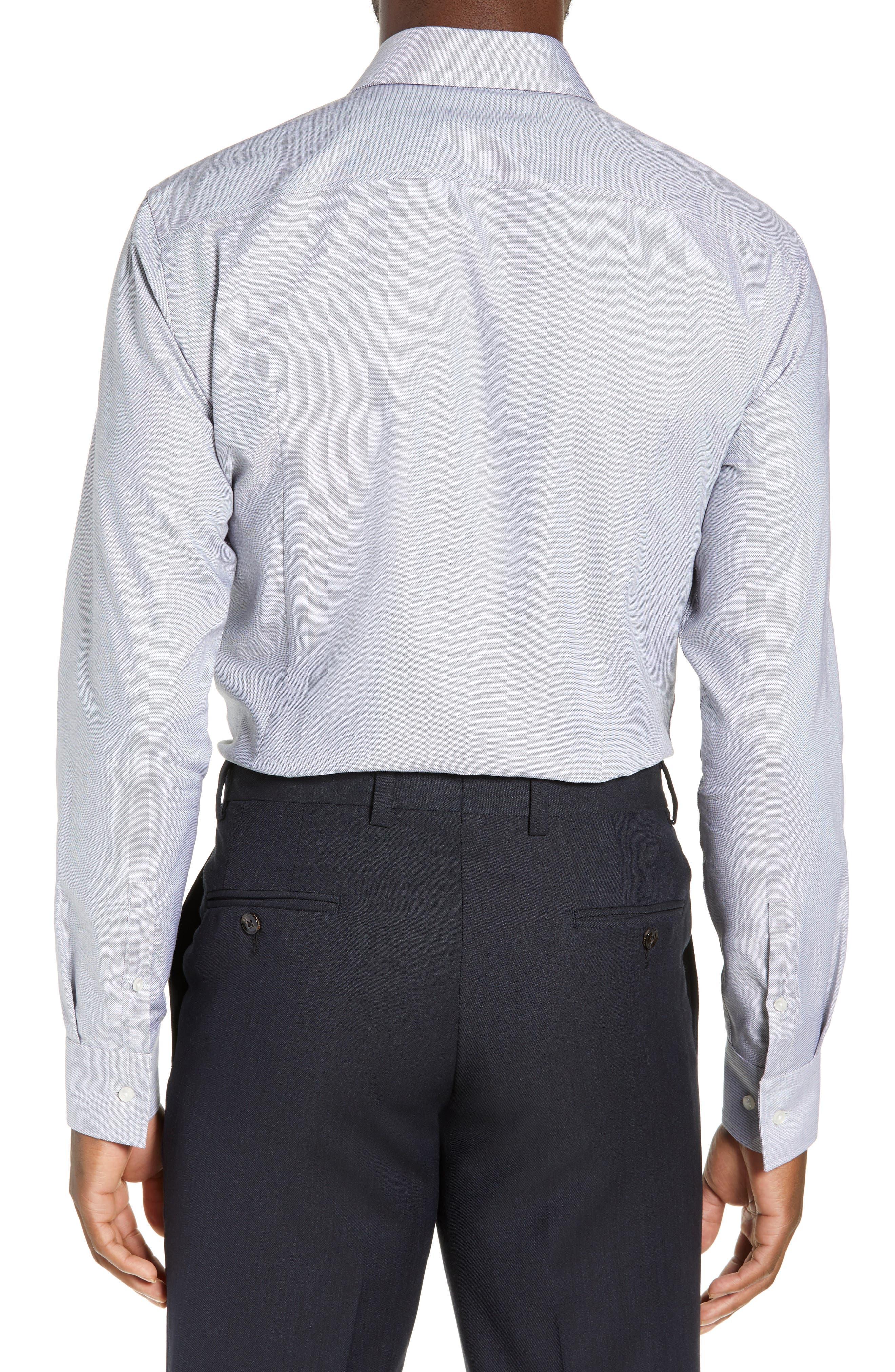 Jason Trim Fit Solid Dress Shirt,                             Alternate thumbnail 3, color,                             BLACK