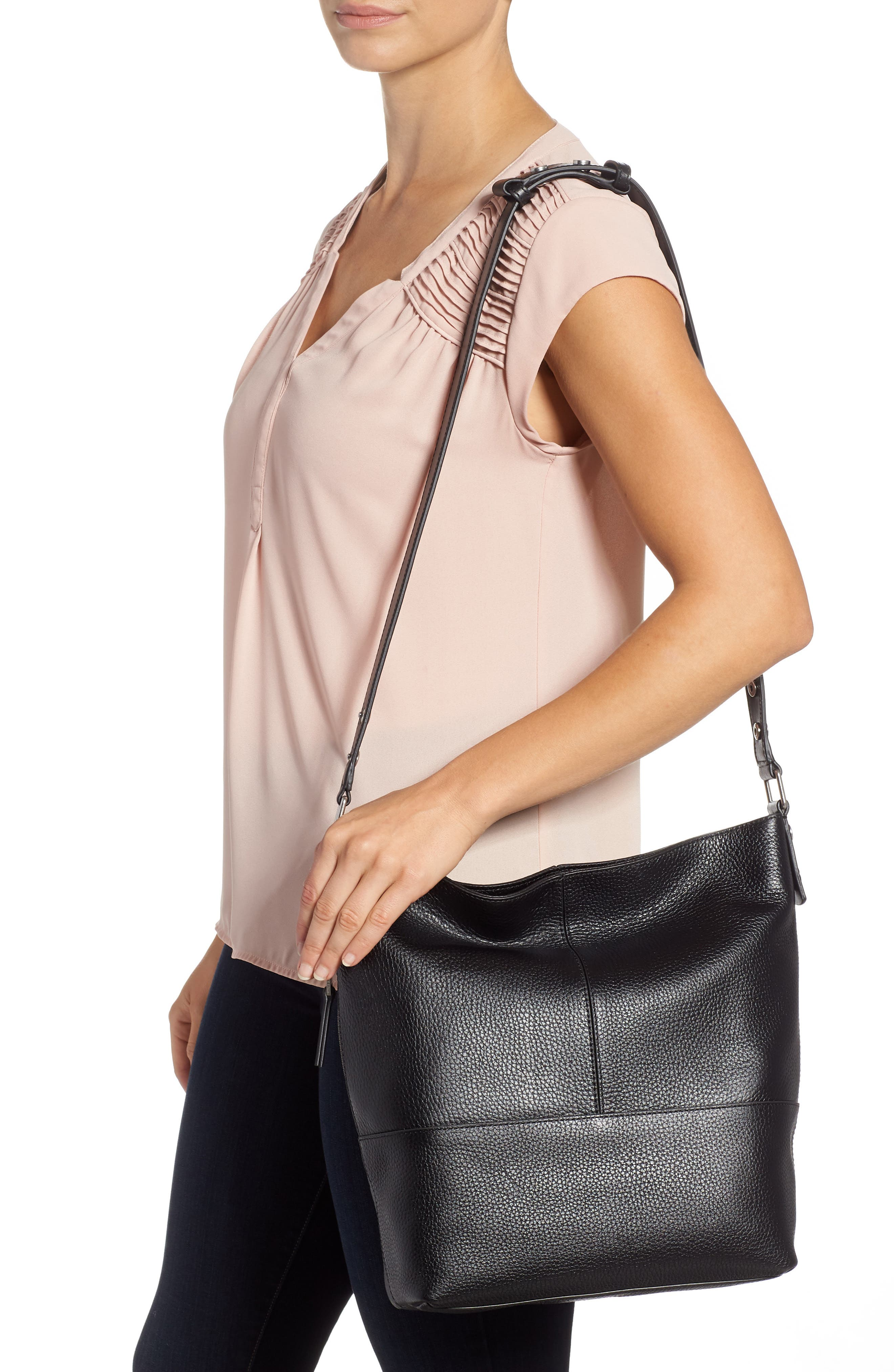 Sydney Leather Convertible Hobo,                             Alternate thumbnail 2, color,                             001