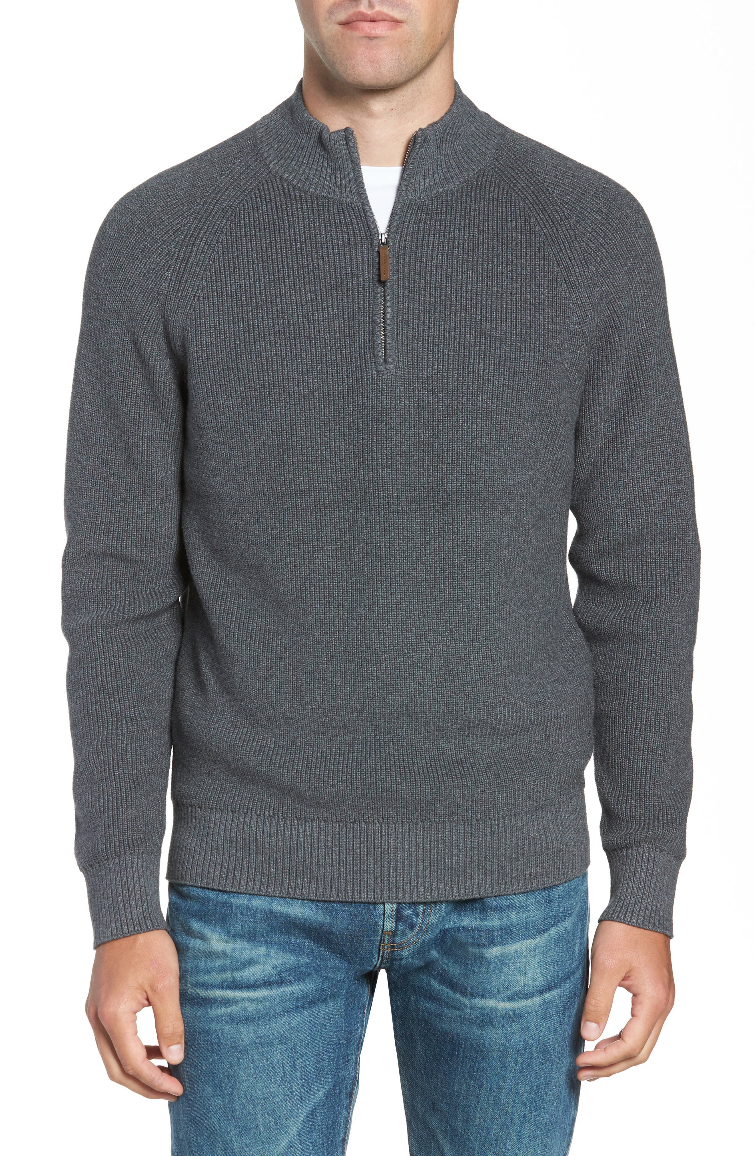 Ribbed Quarter Zip Sweater,                             Main thumbnail 1, color,                             GREY CASTLEROCK