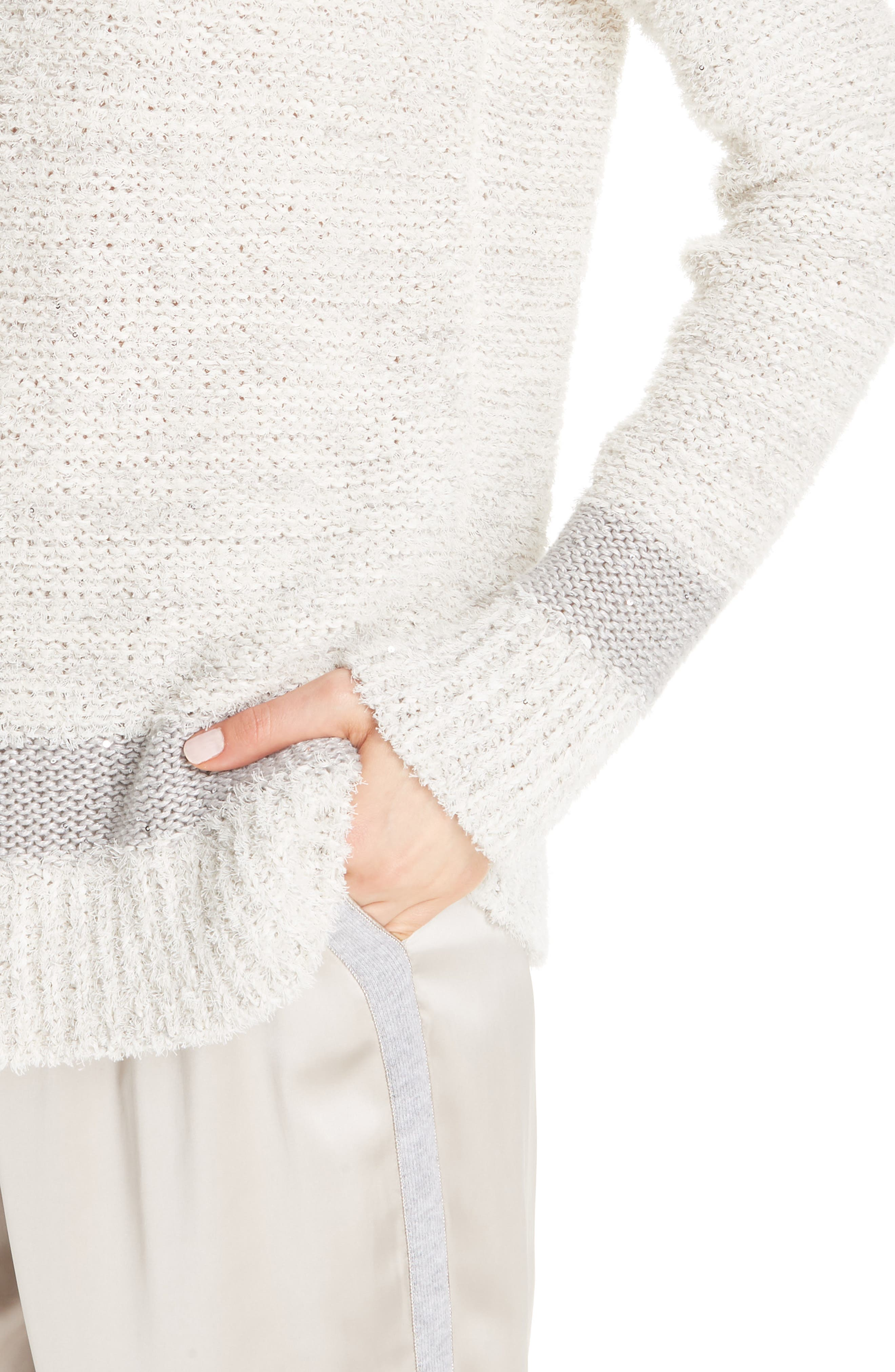 Sequin Knit Sweater,                             Alternate thumbnail 3, color,                             BEIGE