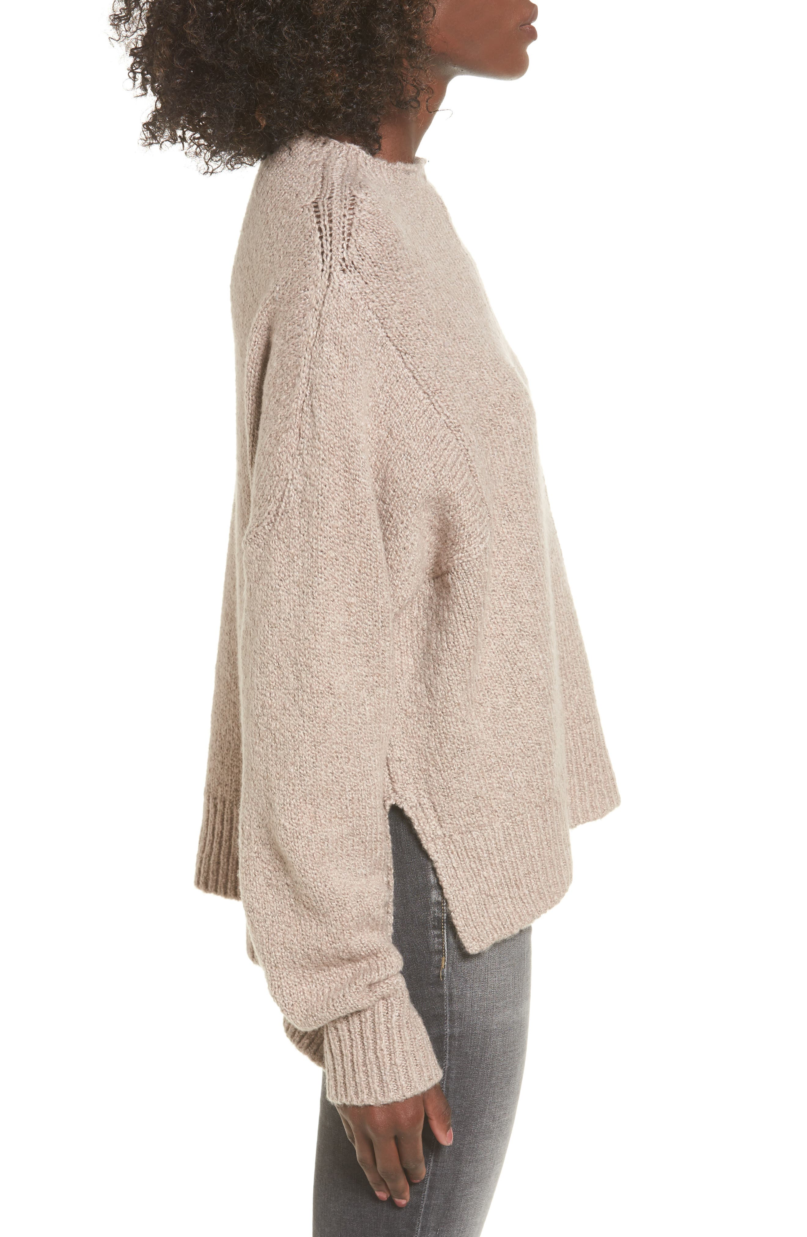 Fuzzy Side Slit Sweater,                             Alternate thumbnail 8, color,