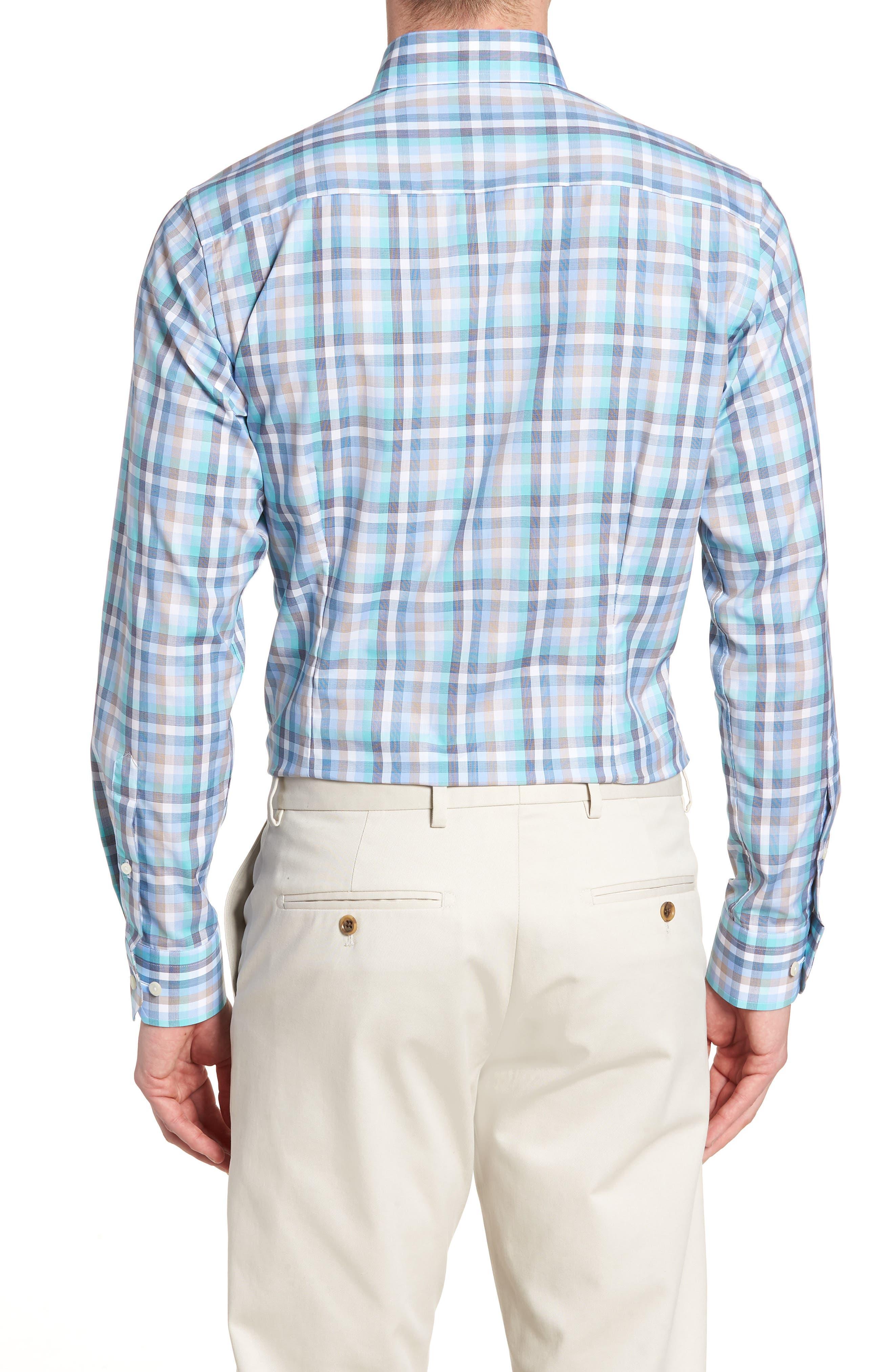 Contemporary Fit Plaid Dress Shirt,                             Alternate thumbnail 3, color,                             BLUE