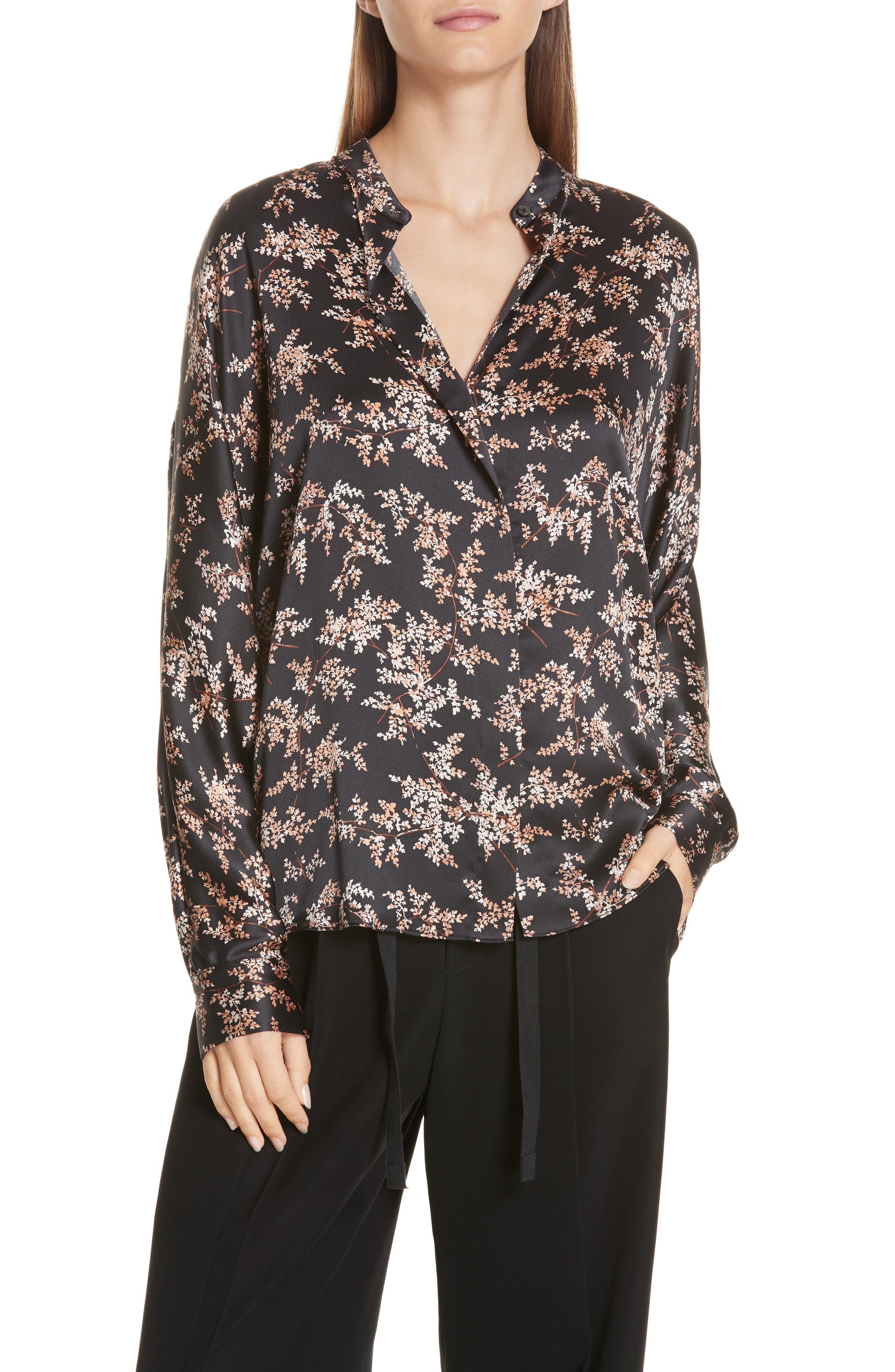 Eden Leaf-Print Button-Front Silk Top in Black