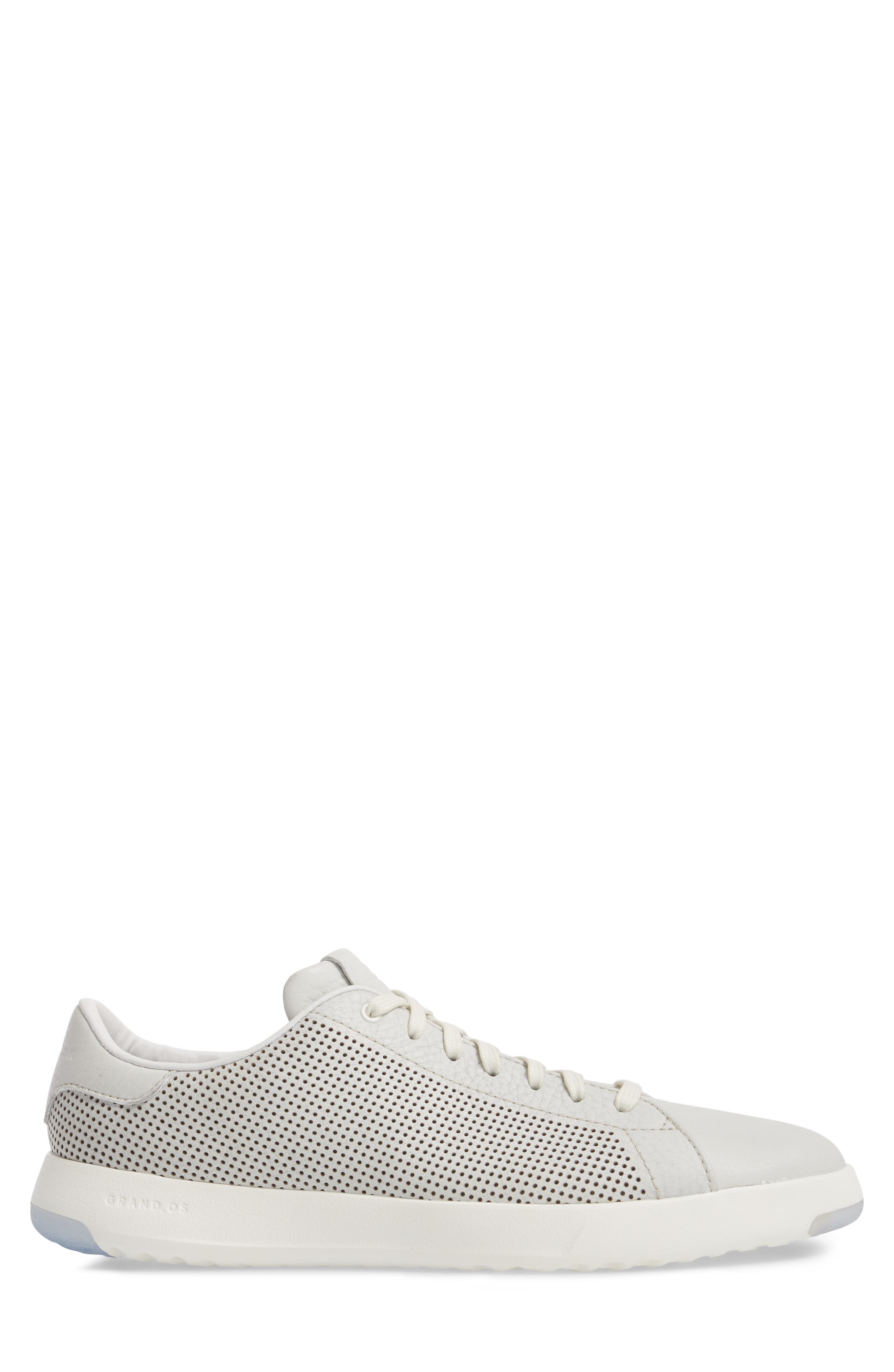 GrandPrø Perforated Low Top Sneaker,                             Alternate thumbnail 3, color,                             WHITE TUM LEATHER