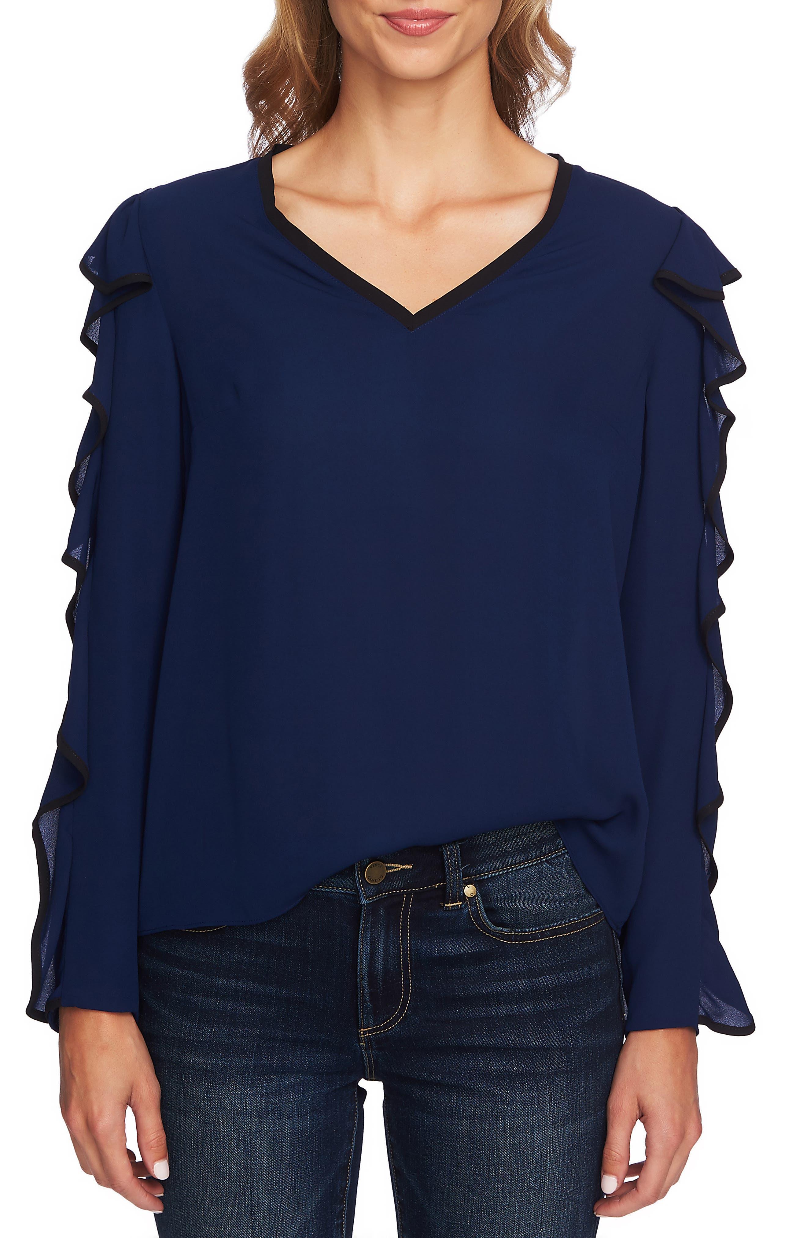 Ruffle Sleeve Top,                         Main,                         color, MIDNIGHT BLOOM