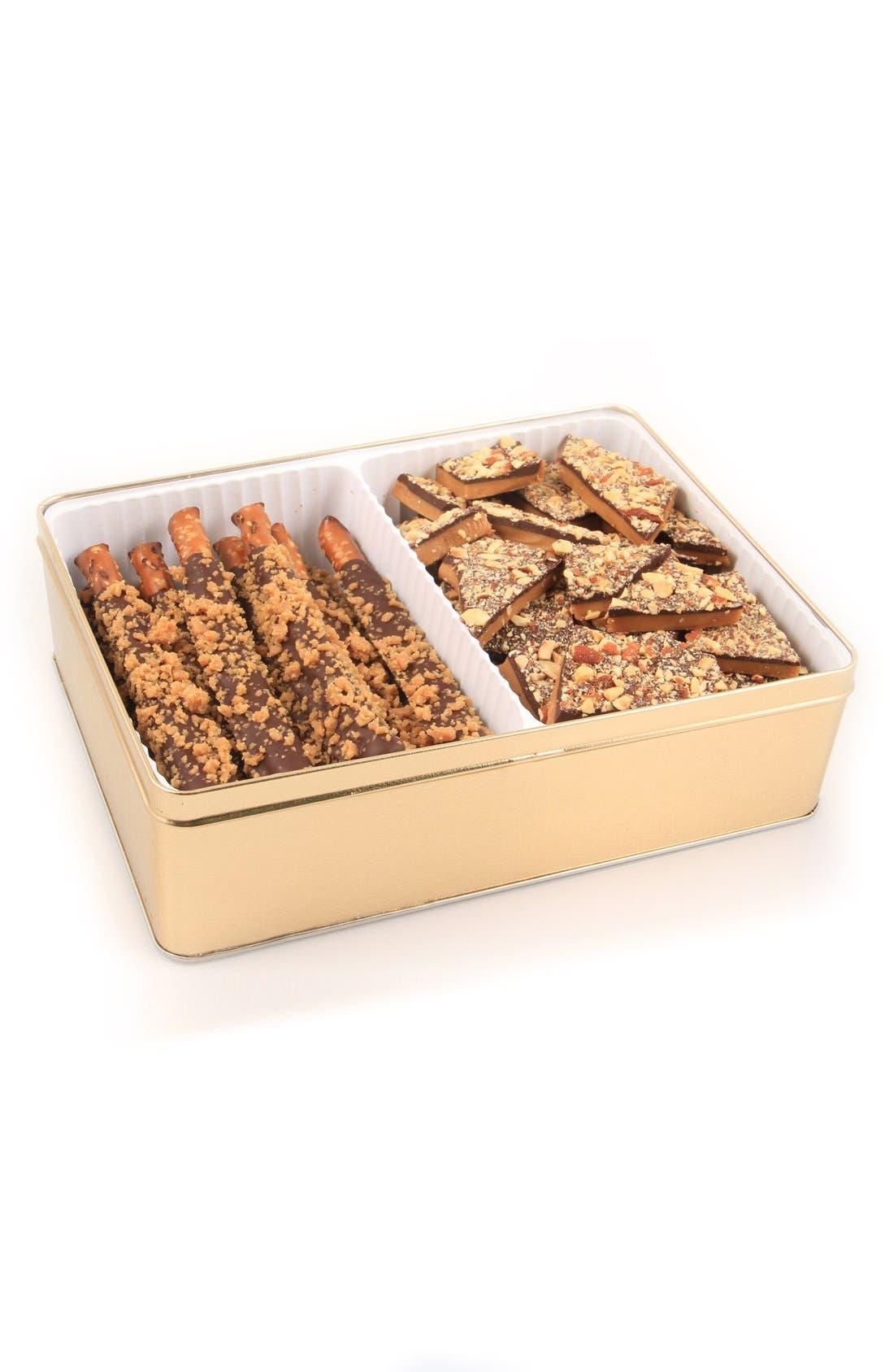 Pretzel & Almond Toffee Gift Tin,                             Main thumbnail 1, color,                             710