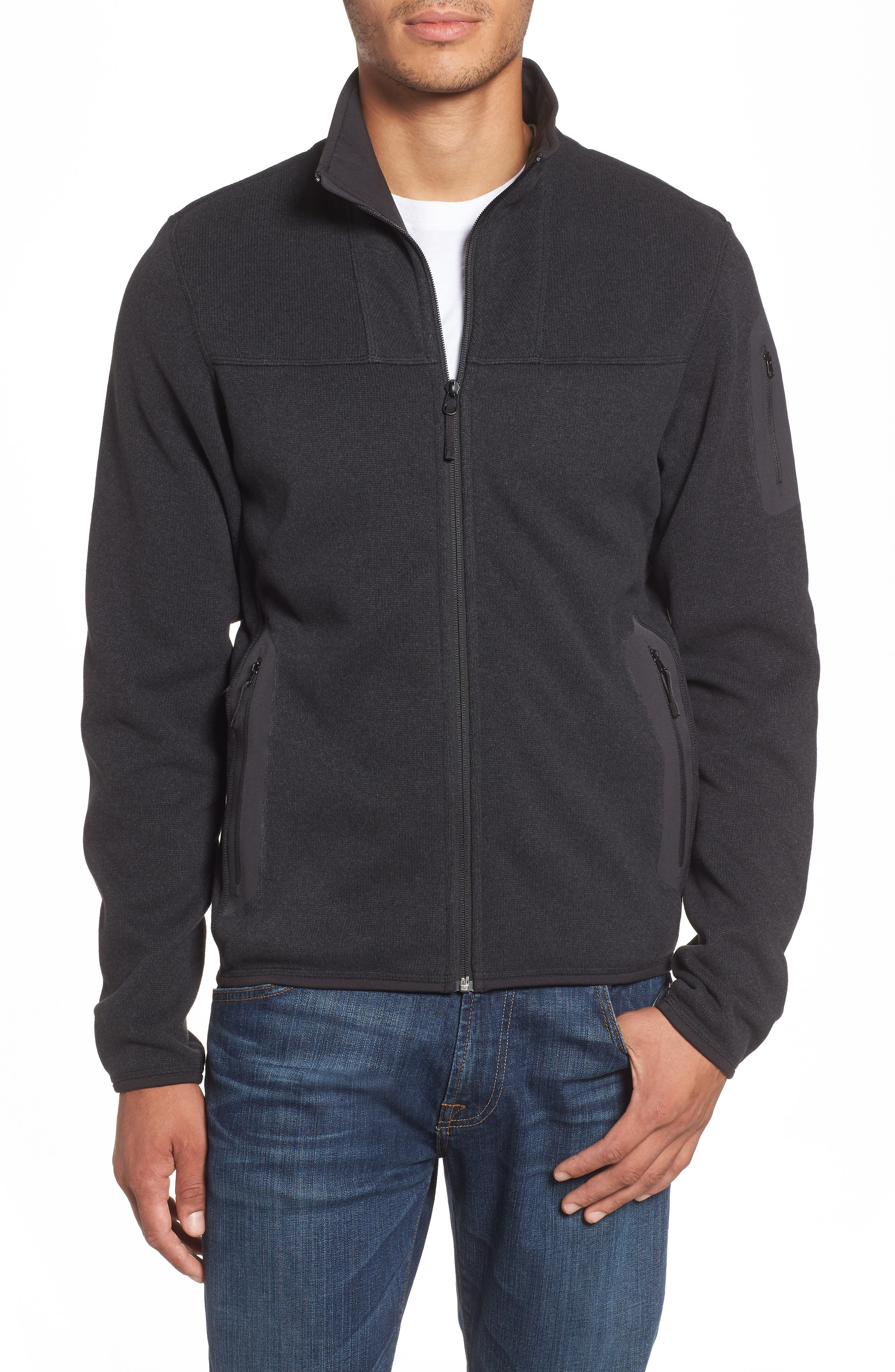 'Covert' Relaxed Fit Technical Fleece Zip Jacket,                             Main thumbnail 1, color,                             BLACK HEATHER