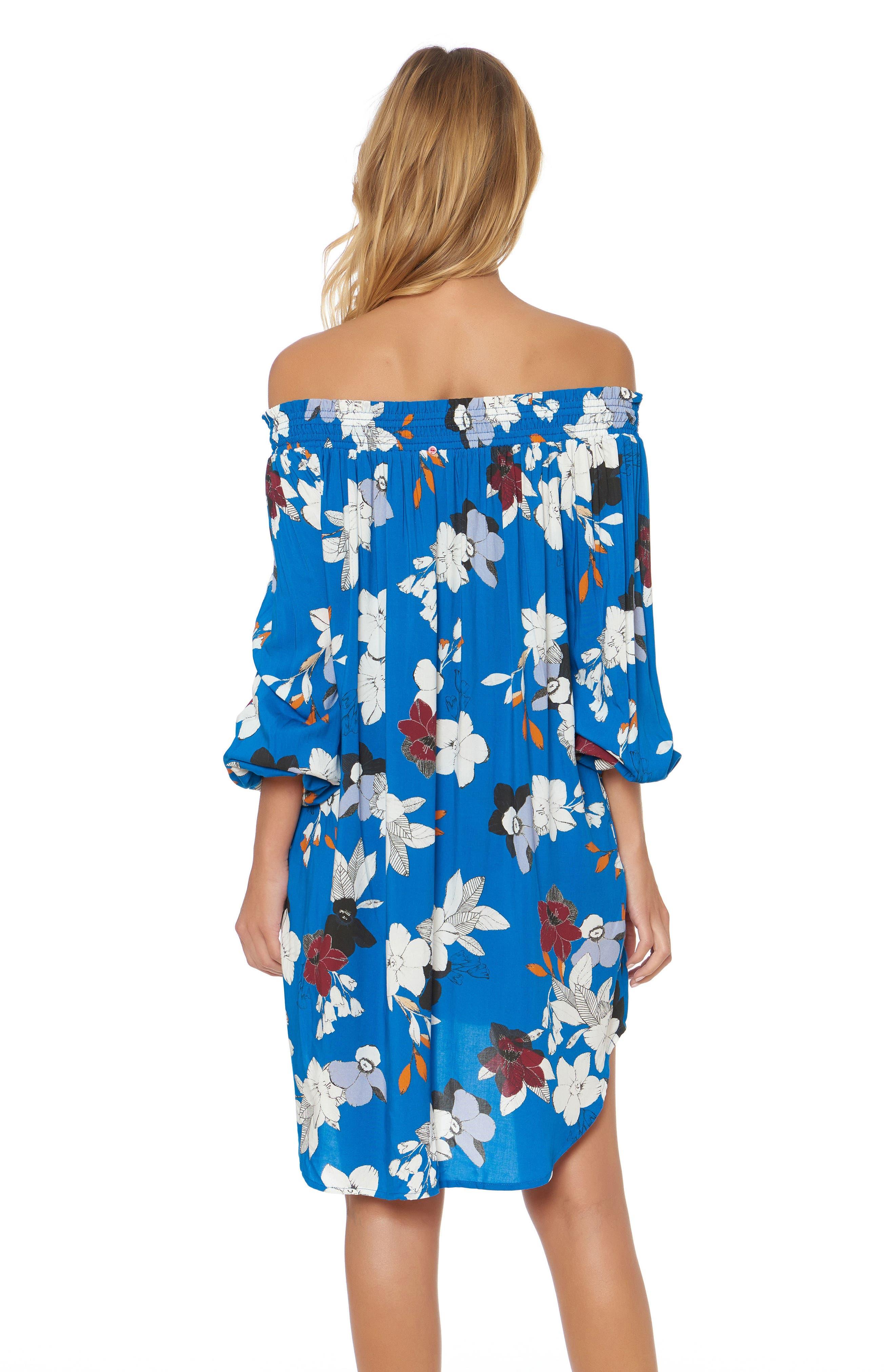 Floral Off the Shoulder Cover-Up Dress,                             Alternate thumbnail 4, color,                             VISION