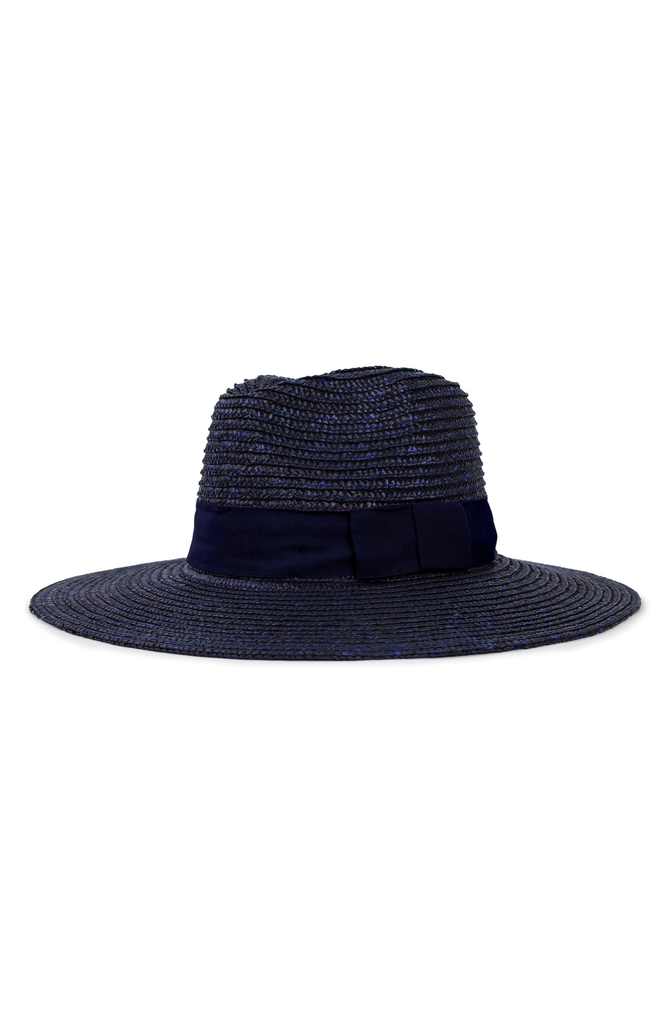 'Joanna' Straw Hat,                         Main,                         color, MIDNIGHT