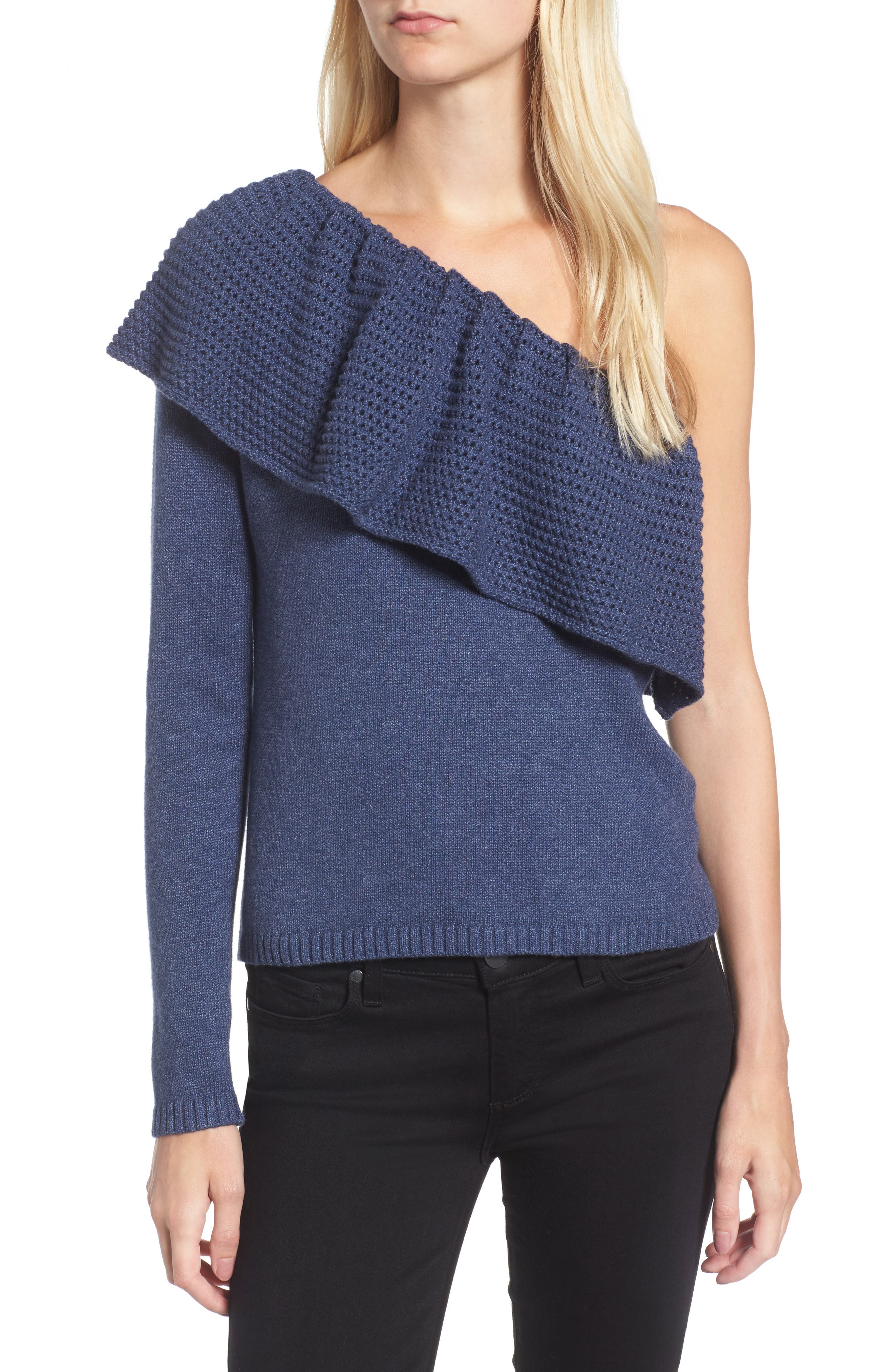 Ruffle One Shoulder Sweater,                             Main thumbnail 1, color,                             439