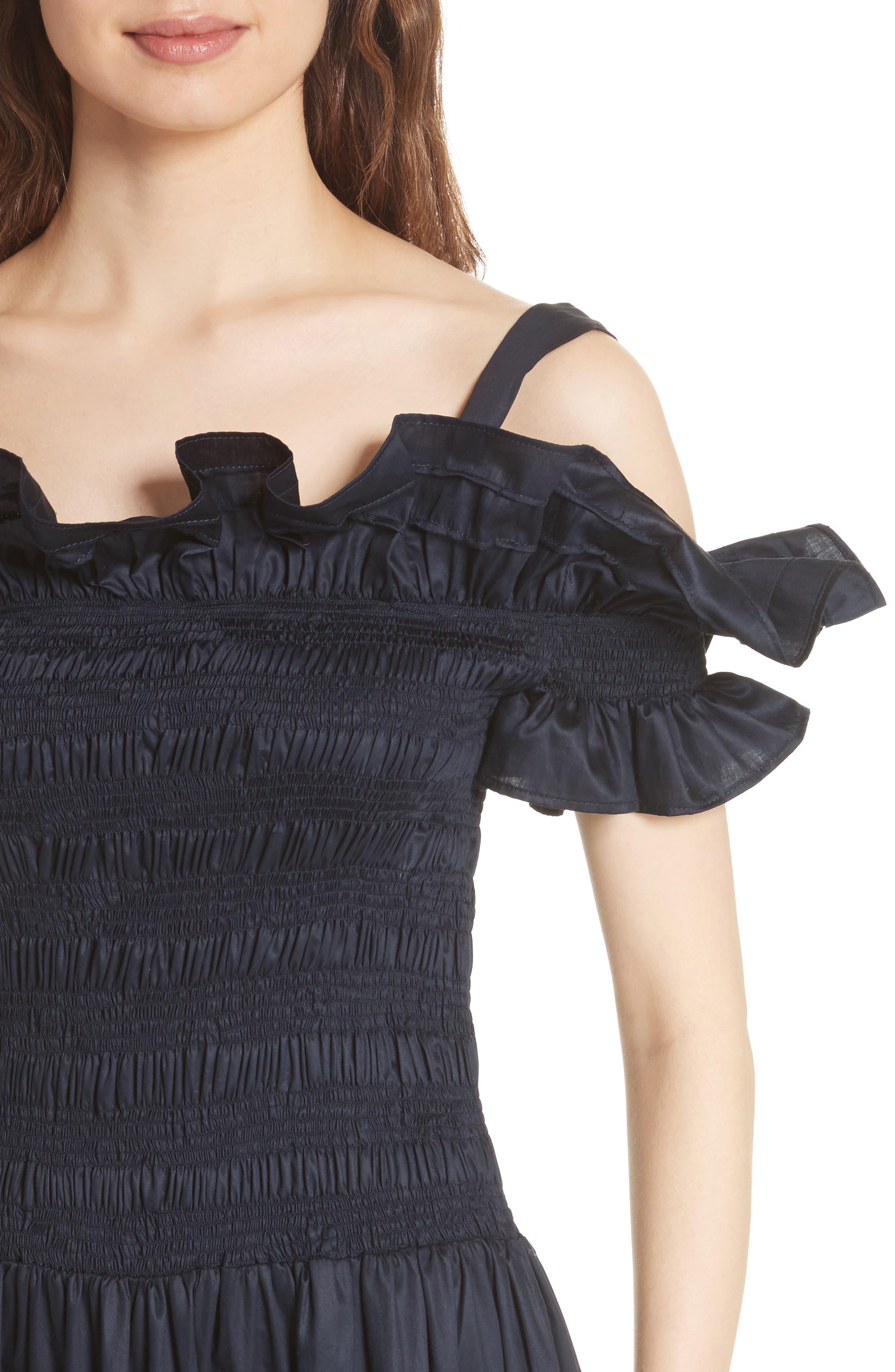 Cold Shoulder Smocked Cotton Dress,                             Alternate thumbnail 4, color,                             410