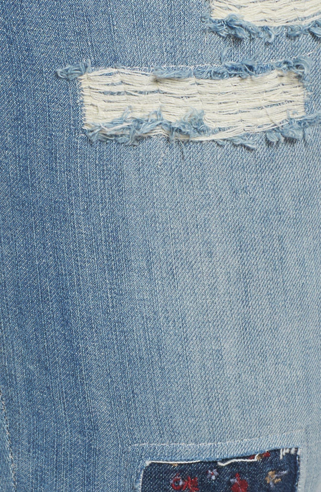 Patch Detail Destructed Girlfriend Jeans,                             Alternate thumbnail 5, color,                             458