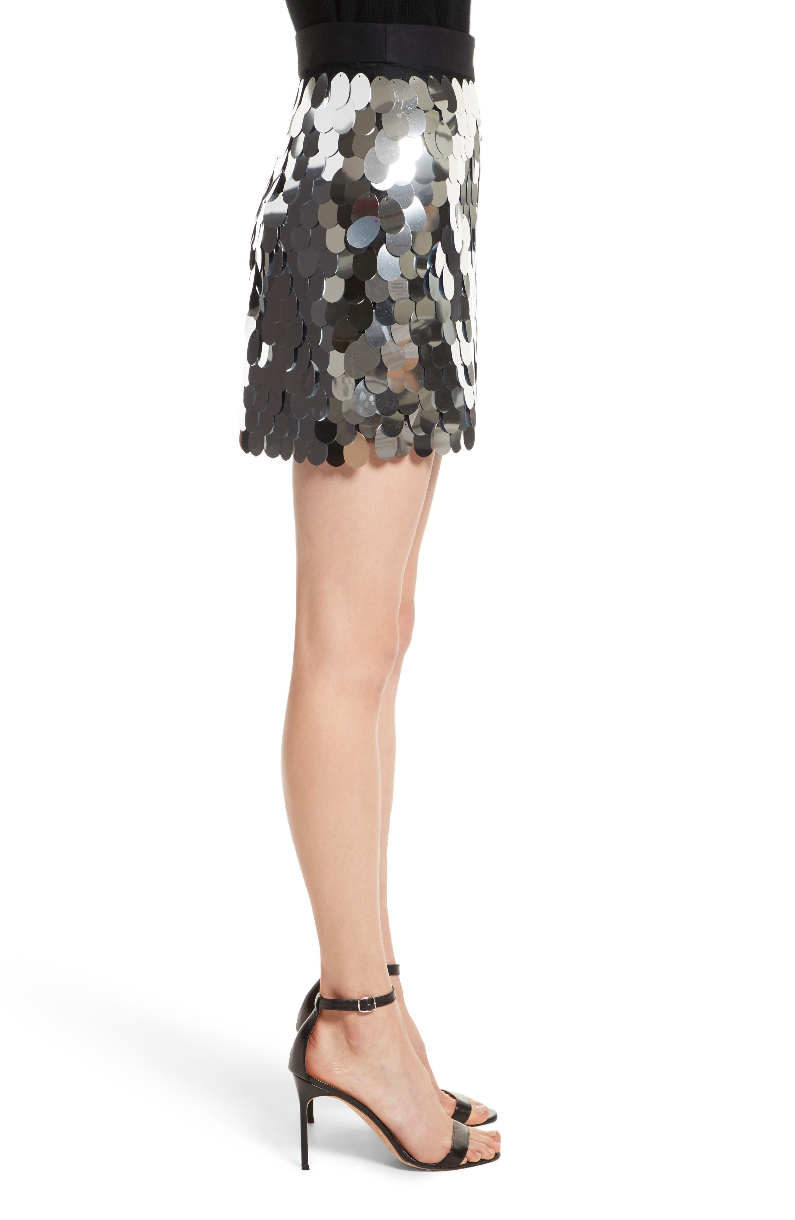 Paillette Sequin Miniskirt,                             Alternate thumbnail 3, color,