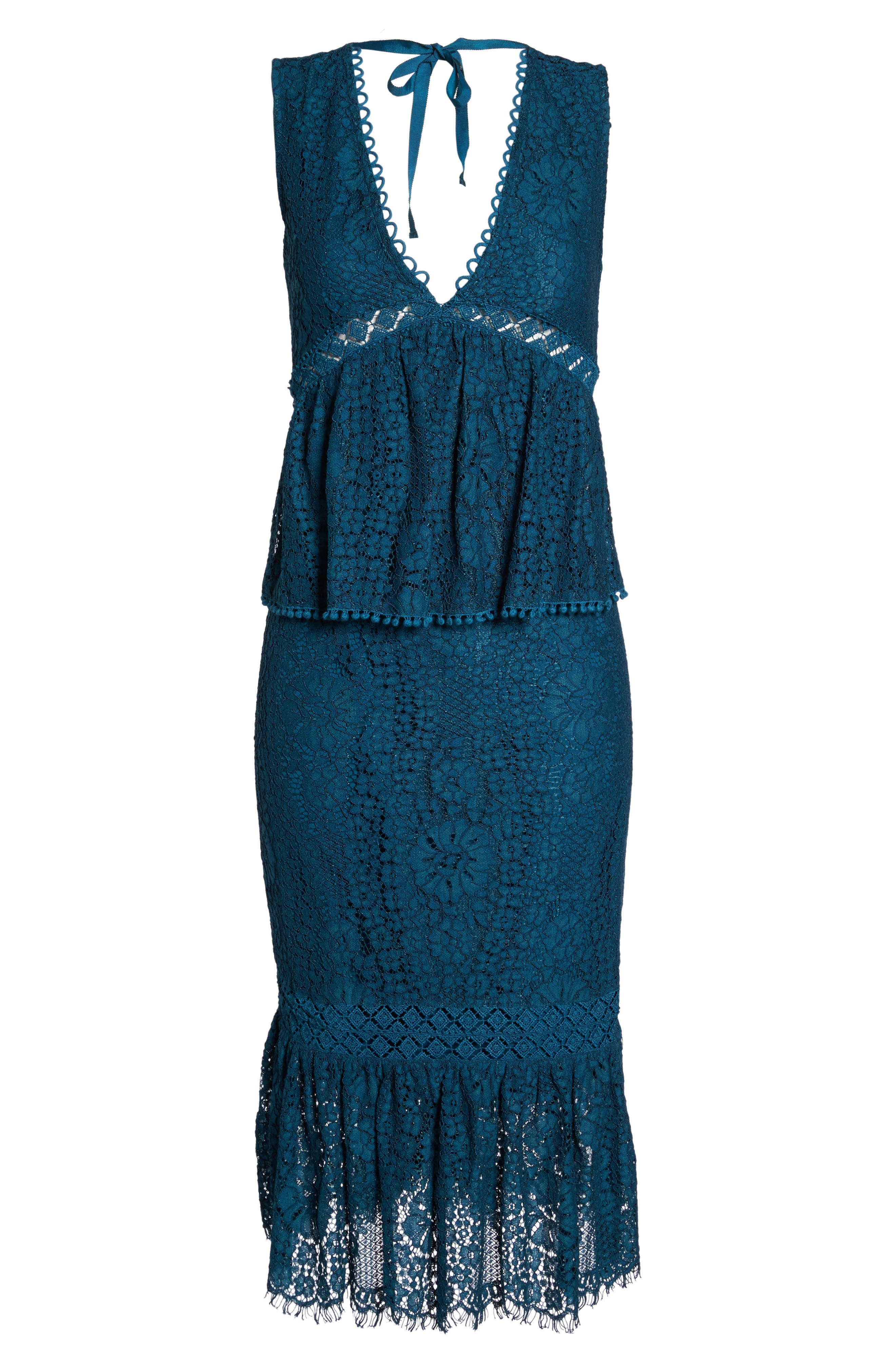Emilia Lace Peplum Midi Dress,                             Alternate thumbnail 6, color,                             404
