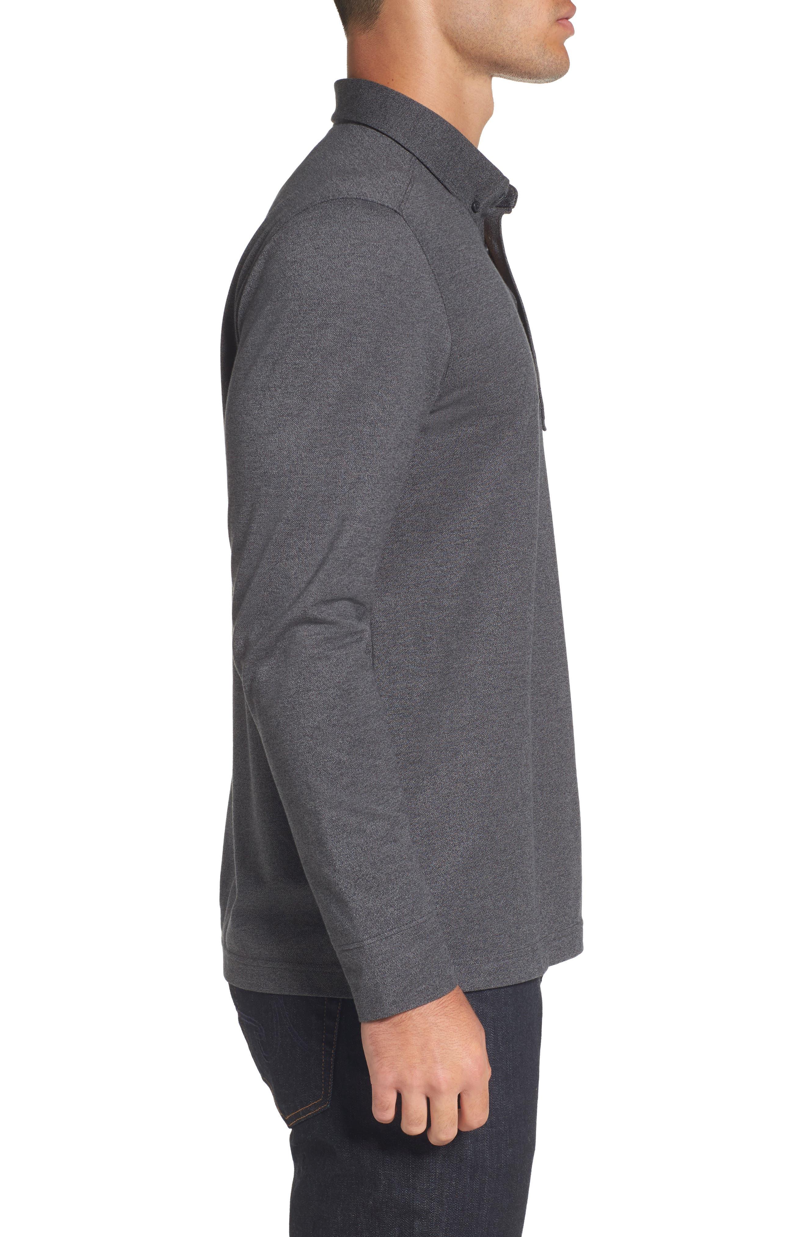Long Sleeve Polo,                             Alternate thumbnail 3, color,                             BLACK CAVIAR MELANGE