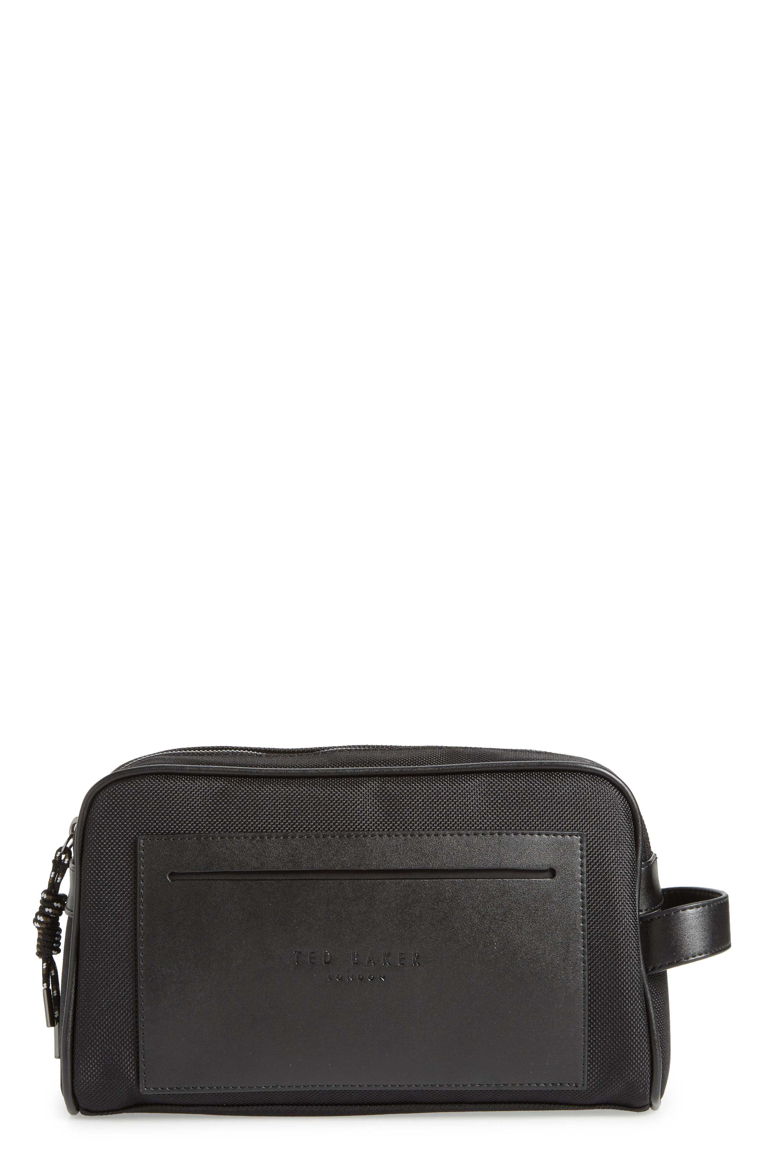 TED BAKER LONDON,                             Blends Dopp Kit,                             Main thumbnail 1, color,                             BLACK