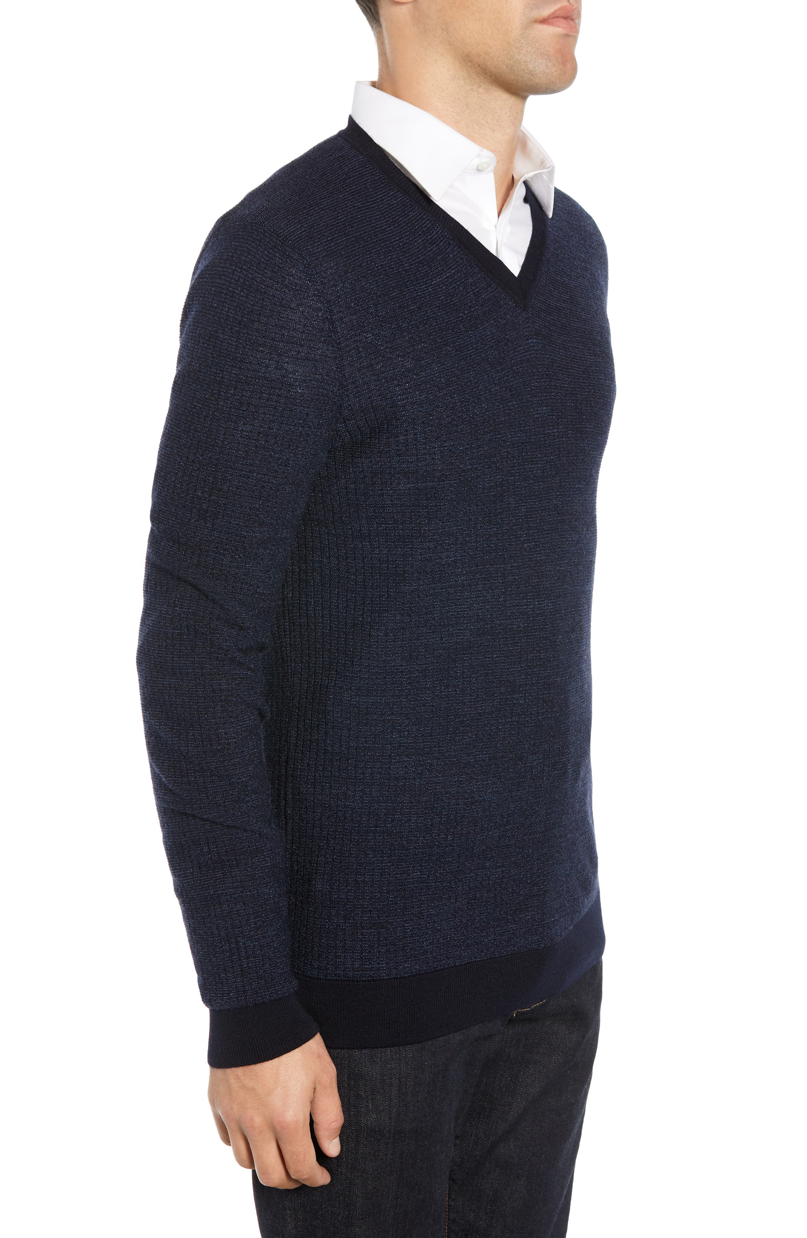 Emauro Mouline V-Neck Slim Fit Sweater,                             Alternate thumbnail 3, color,                             BLUE