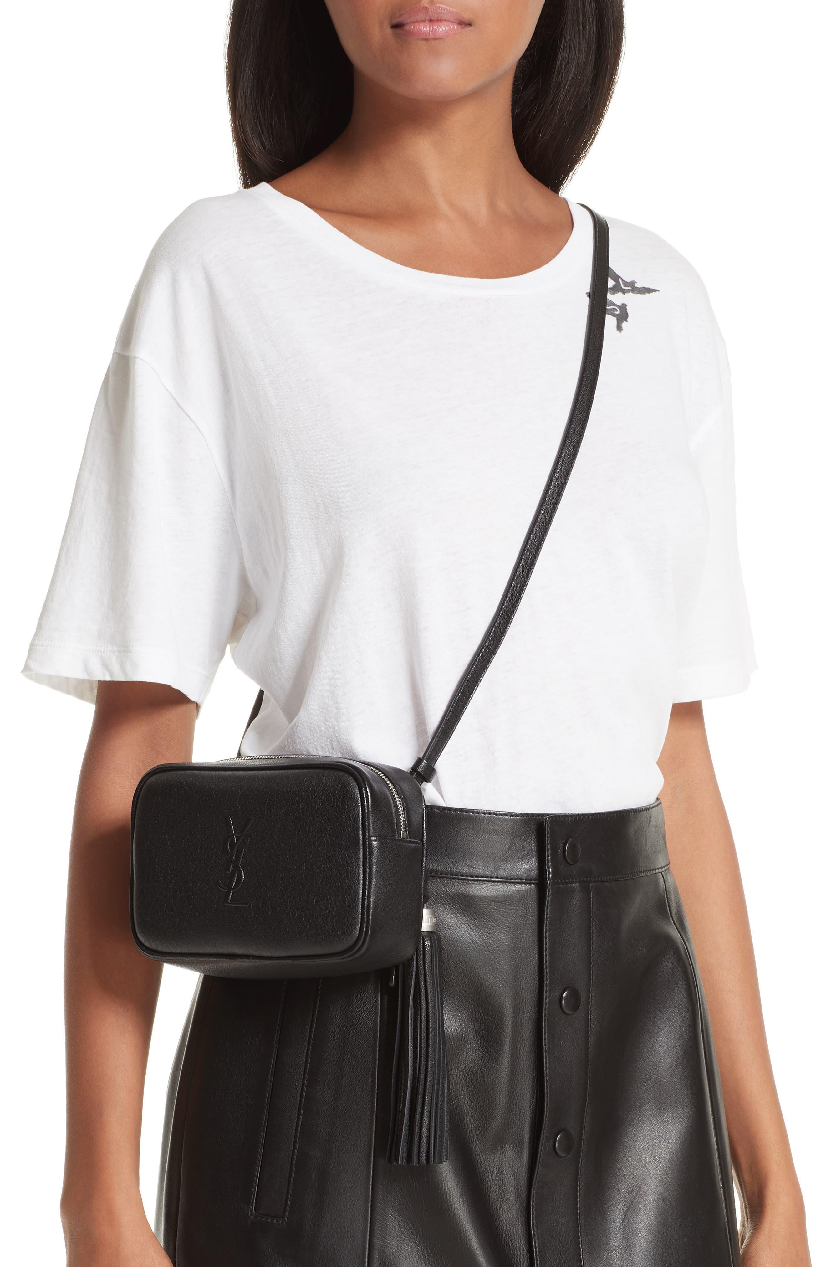 Loulou Tassel Leather Belt Bag,                             Alternate thumbnail 2, color,                             001