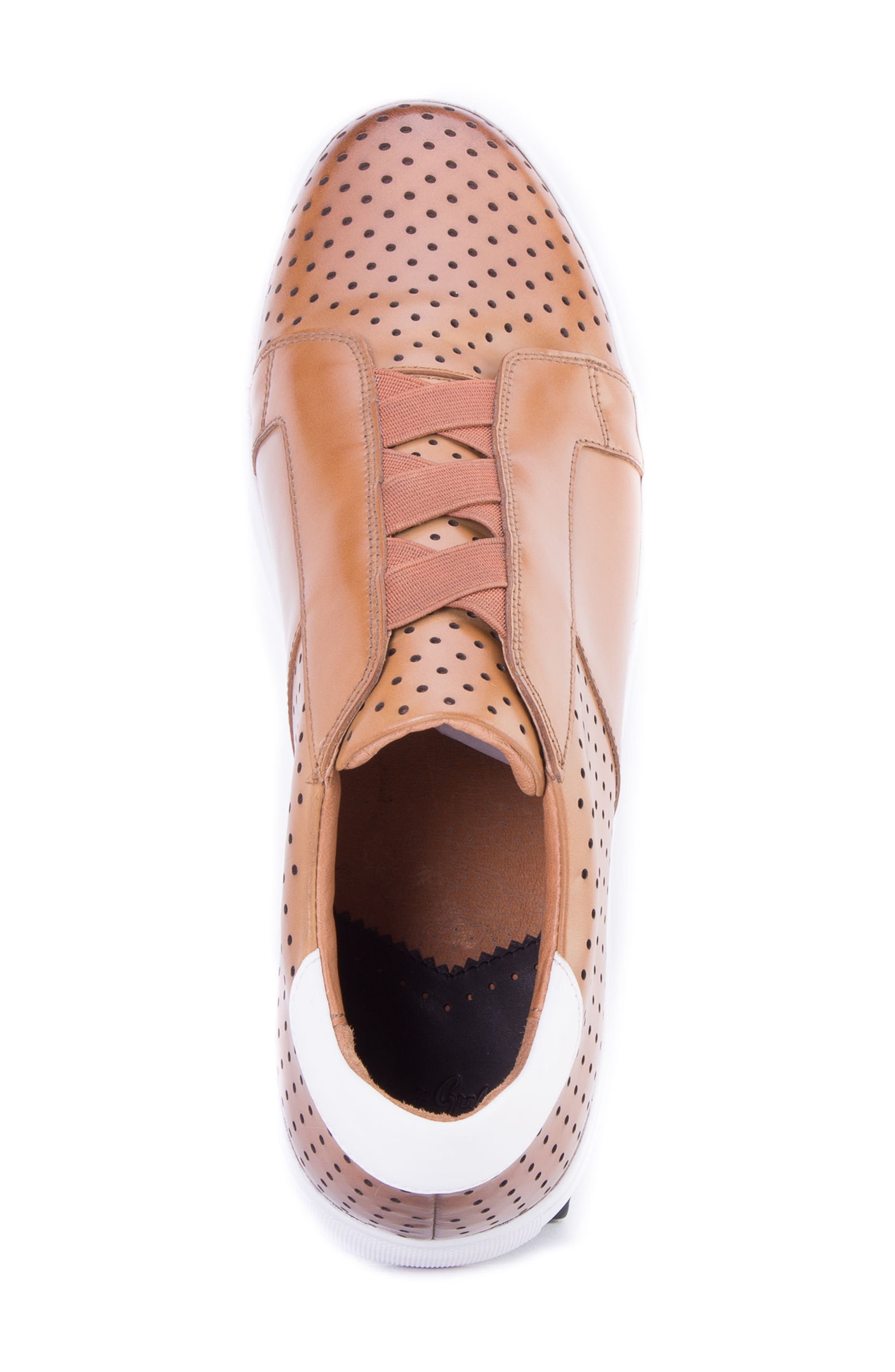Rowley Perforated Laceless Sneaker,                             Alternate thumbnail 5, color,                             COGNAC LEATHER