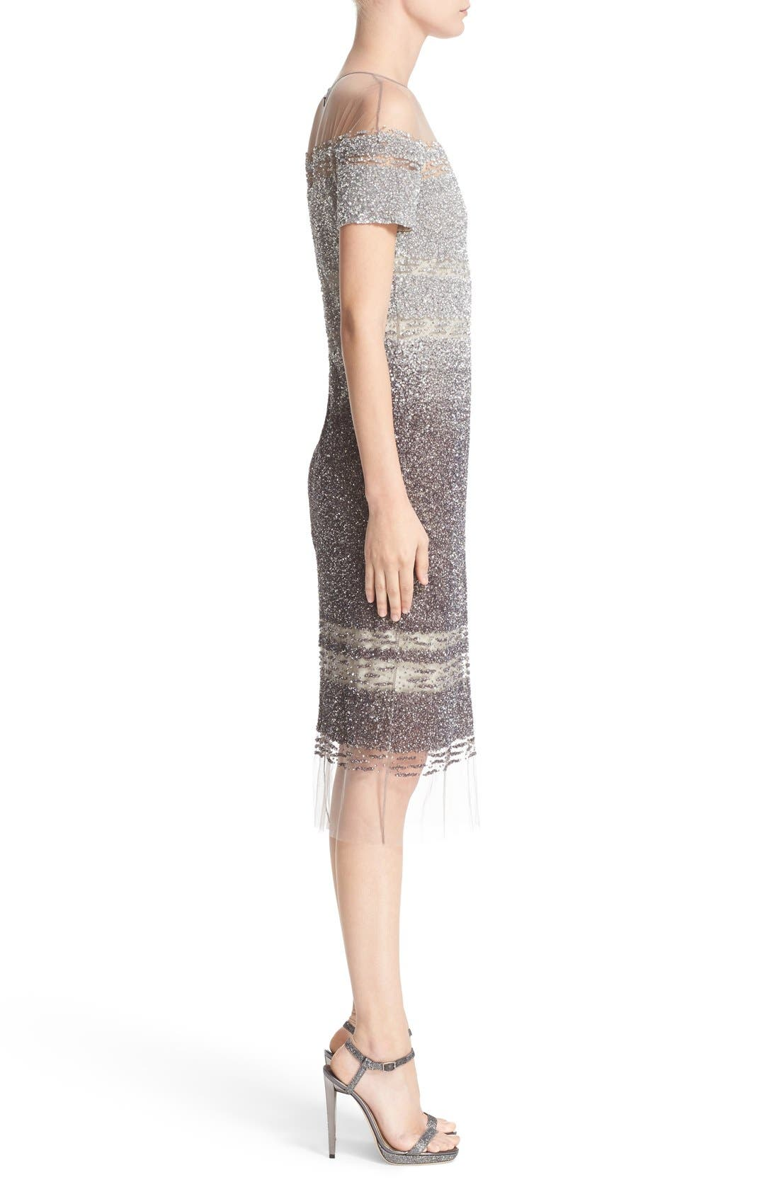 Signature Sequin Cap Sleeve Cocktail Dress,                             Alternate thumbnail 5, color,                             SILVER/ DARK GREY