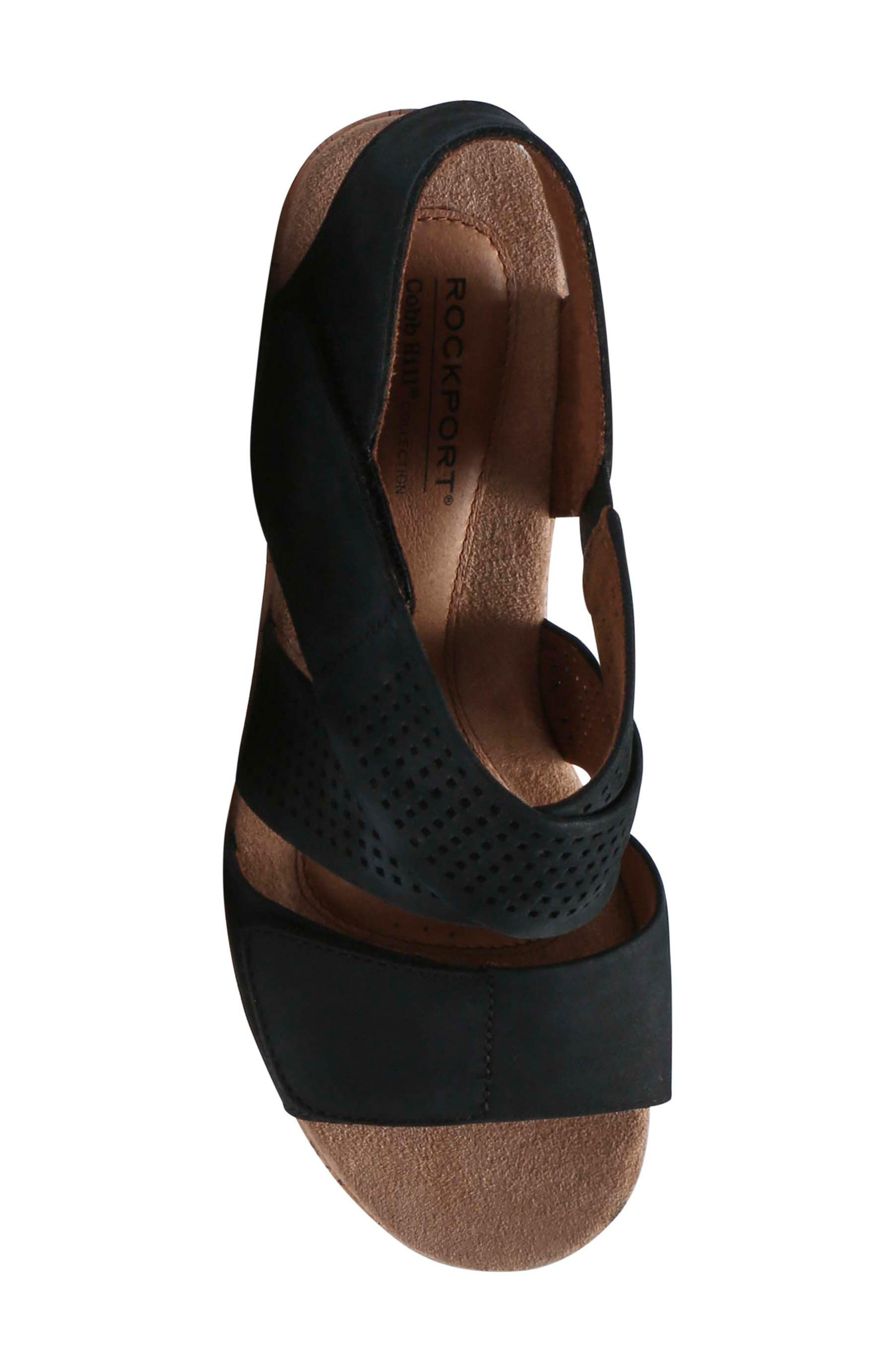Janna Cross Strap Wedge Sandal,                             Alternate thumbnail 5, color,                             001