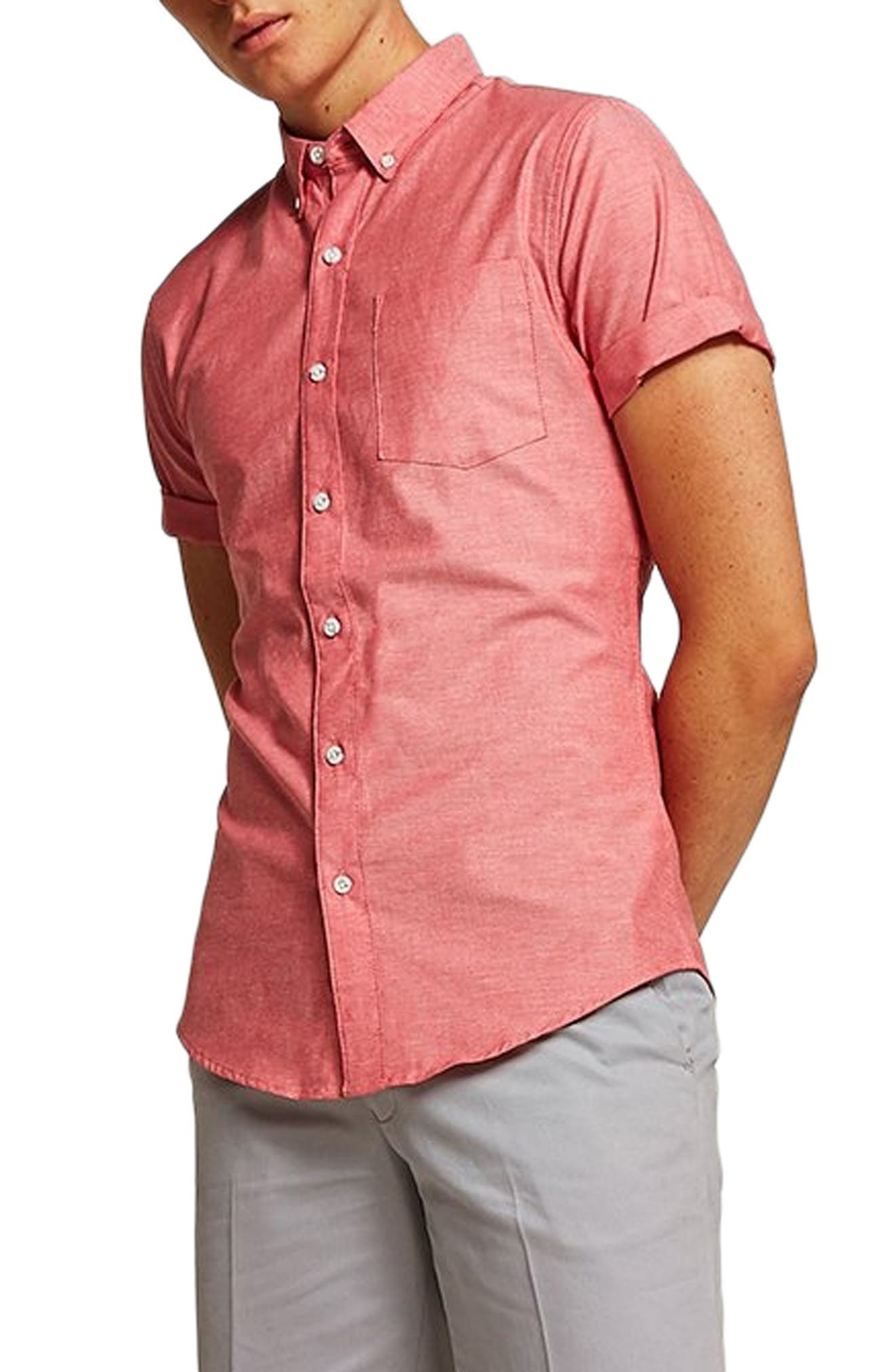 Muscle Fit Oxford Shirt,                             Alternate thumbnail 2, color,                             RED MULTI
