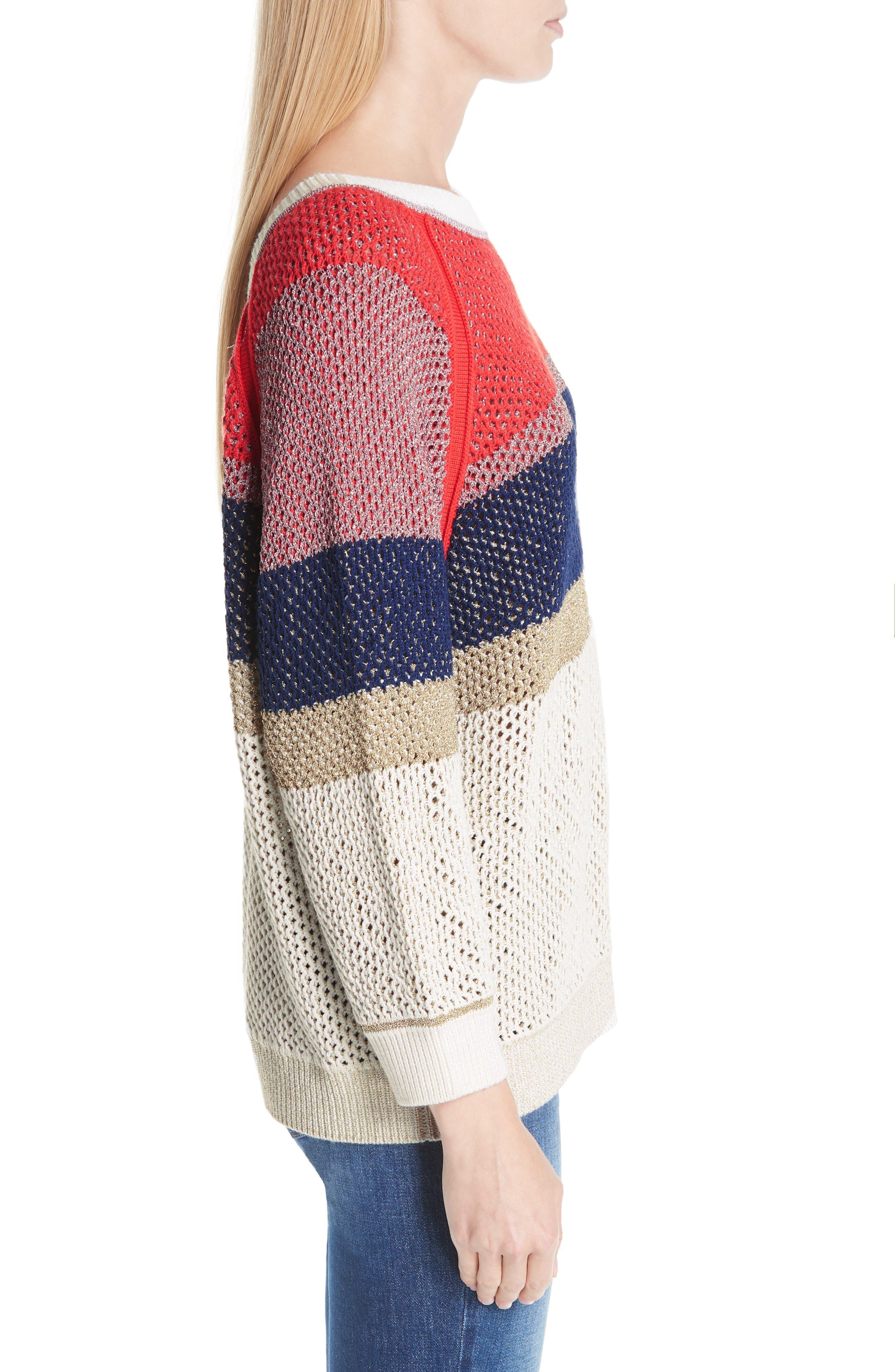 Hera Colorblock V-Back Sweater,                             Alternate thumbnail 3, color,                             MULTICOLOR