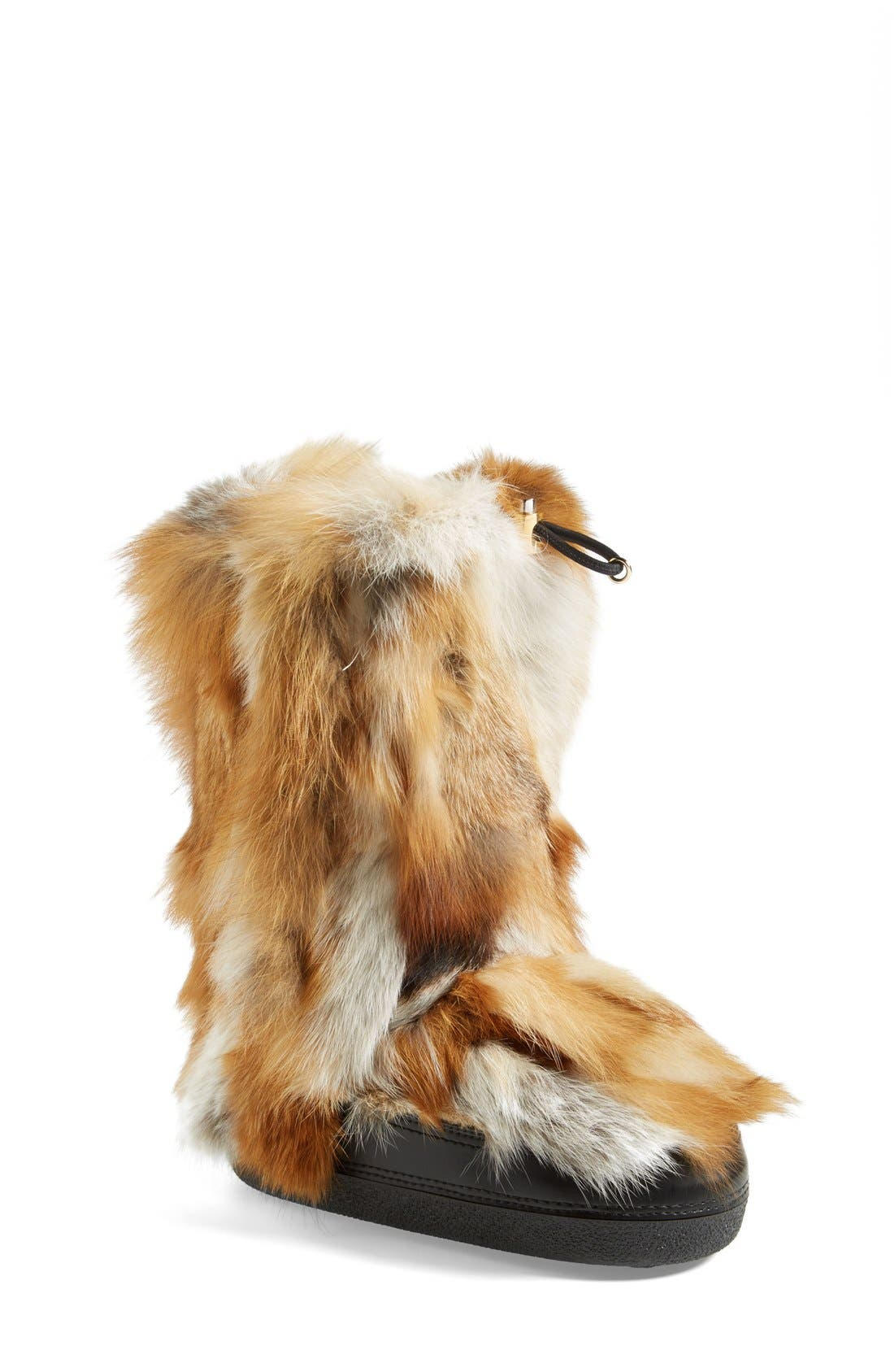 'Danny' Genuine Fox Fur Boot, Main, color, 250