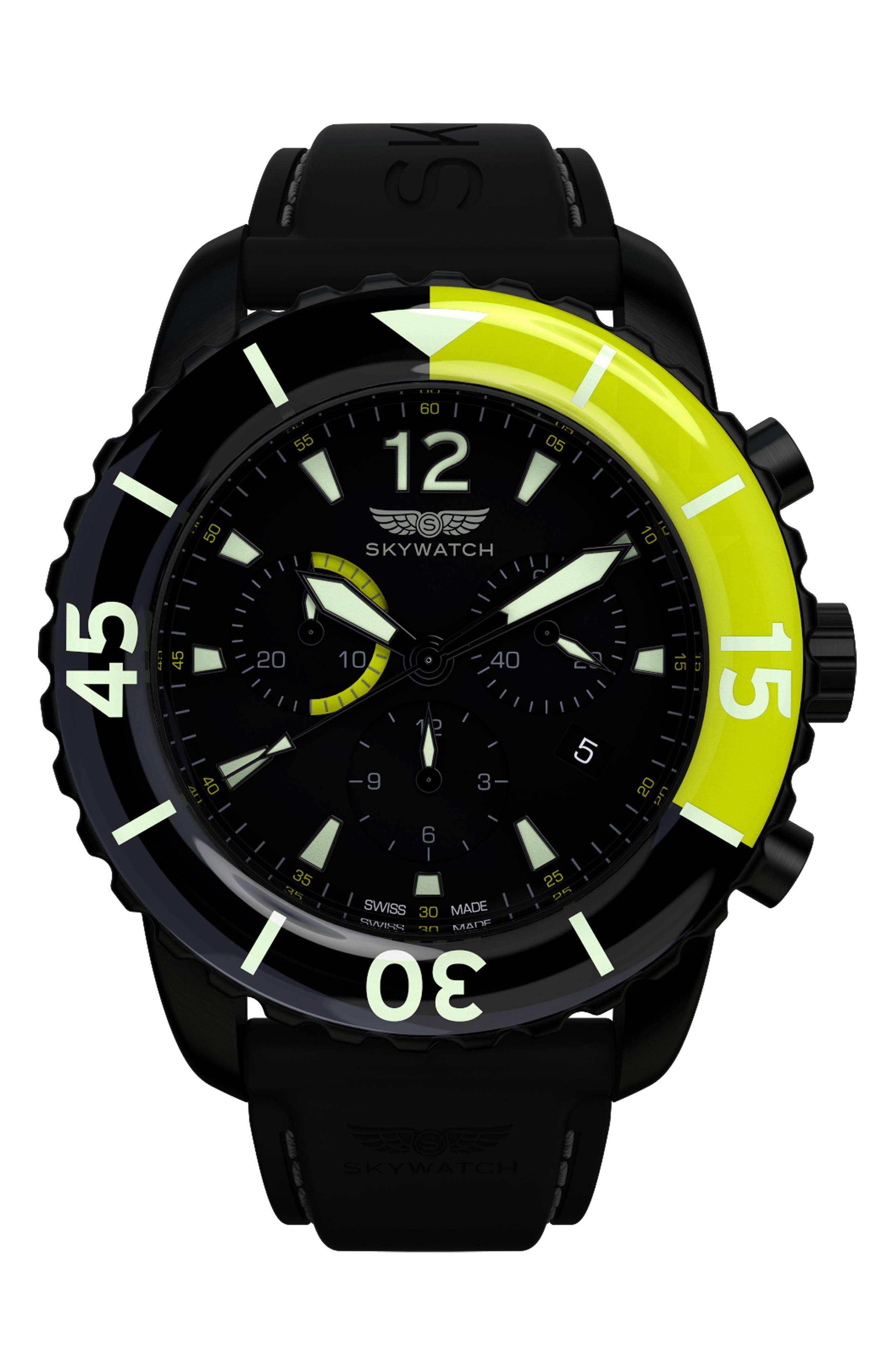 Classic Chronograph Silicone Strap Watch, 44mm,                         Main,                         color, BLACK/ BLACK
