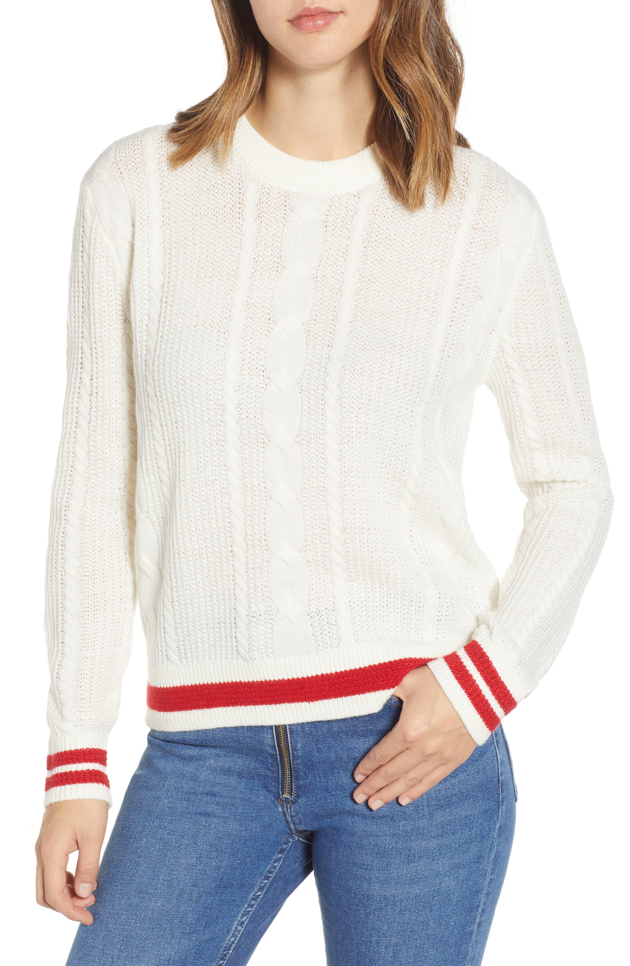 TJW Cable Knit Sweater,                         Main,                         color, CLOUD DANCER