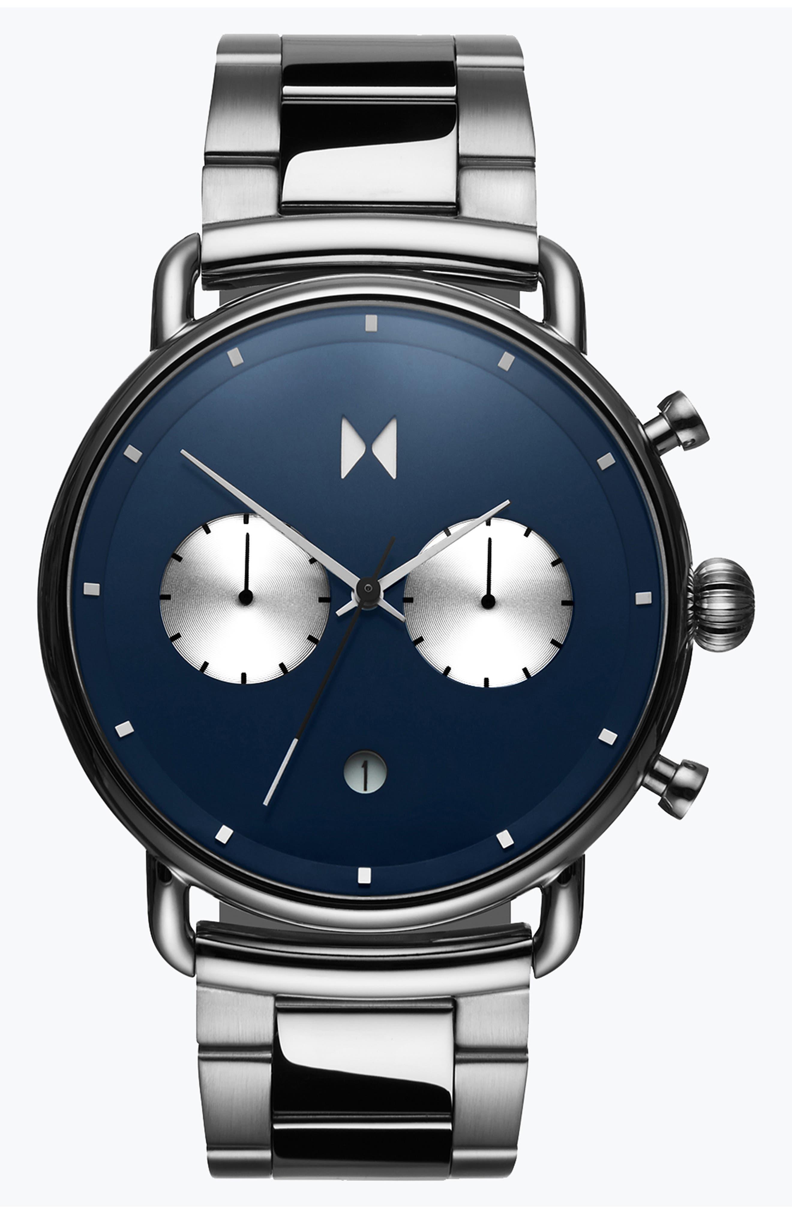 Blacktop Chronograph Bracelet Watch,                         Main,                         color, BLUE/ SILVER