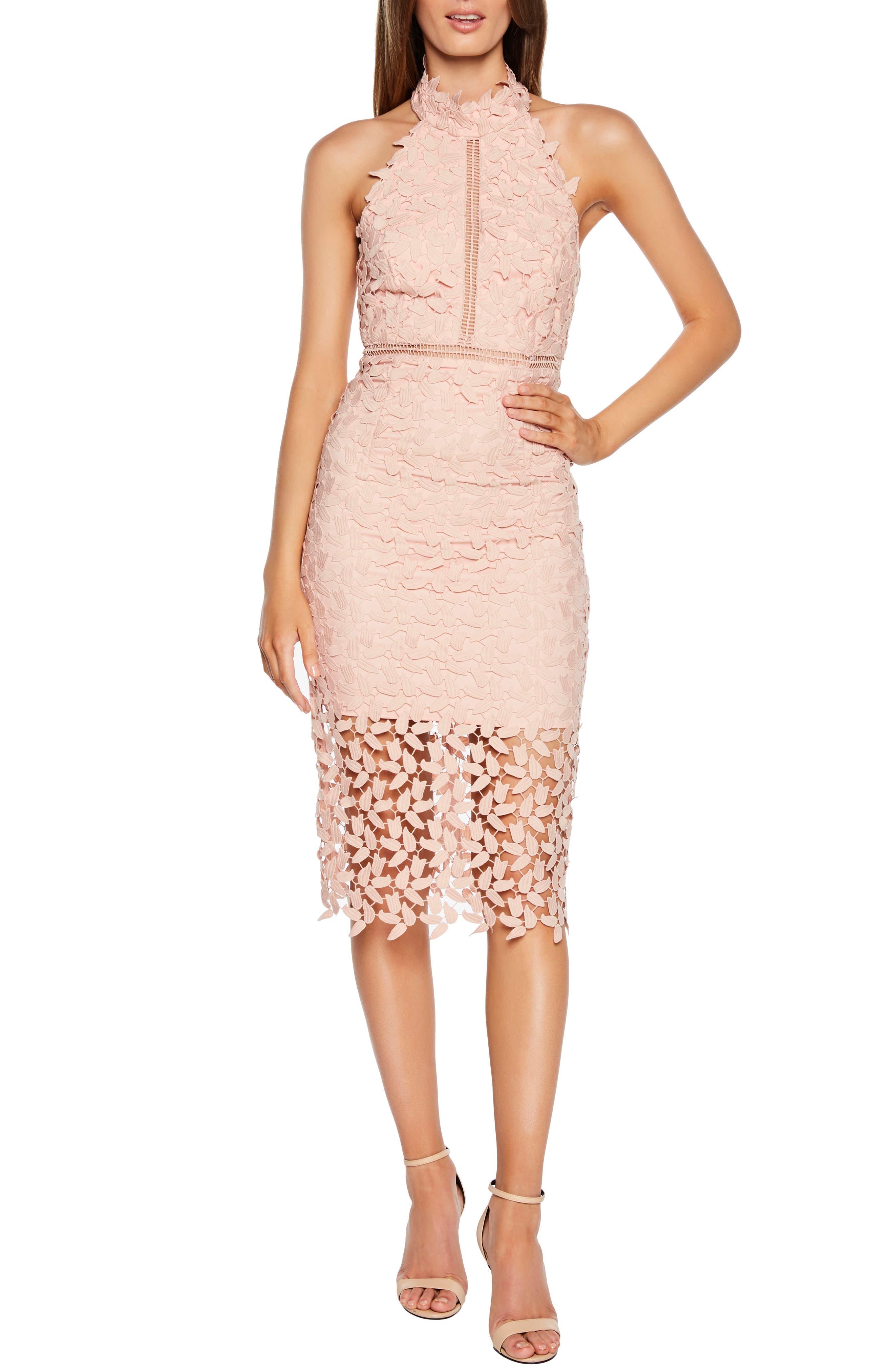 Gemma Halter Lace Sheath Dress,                             Main thumbnail 1, color,                             LATTE PINK