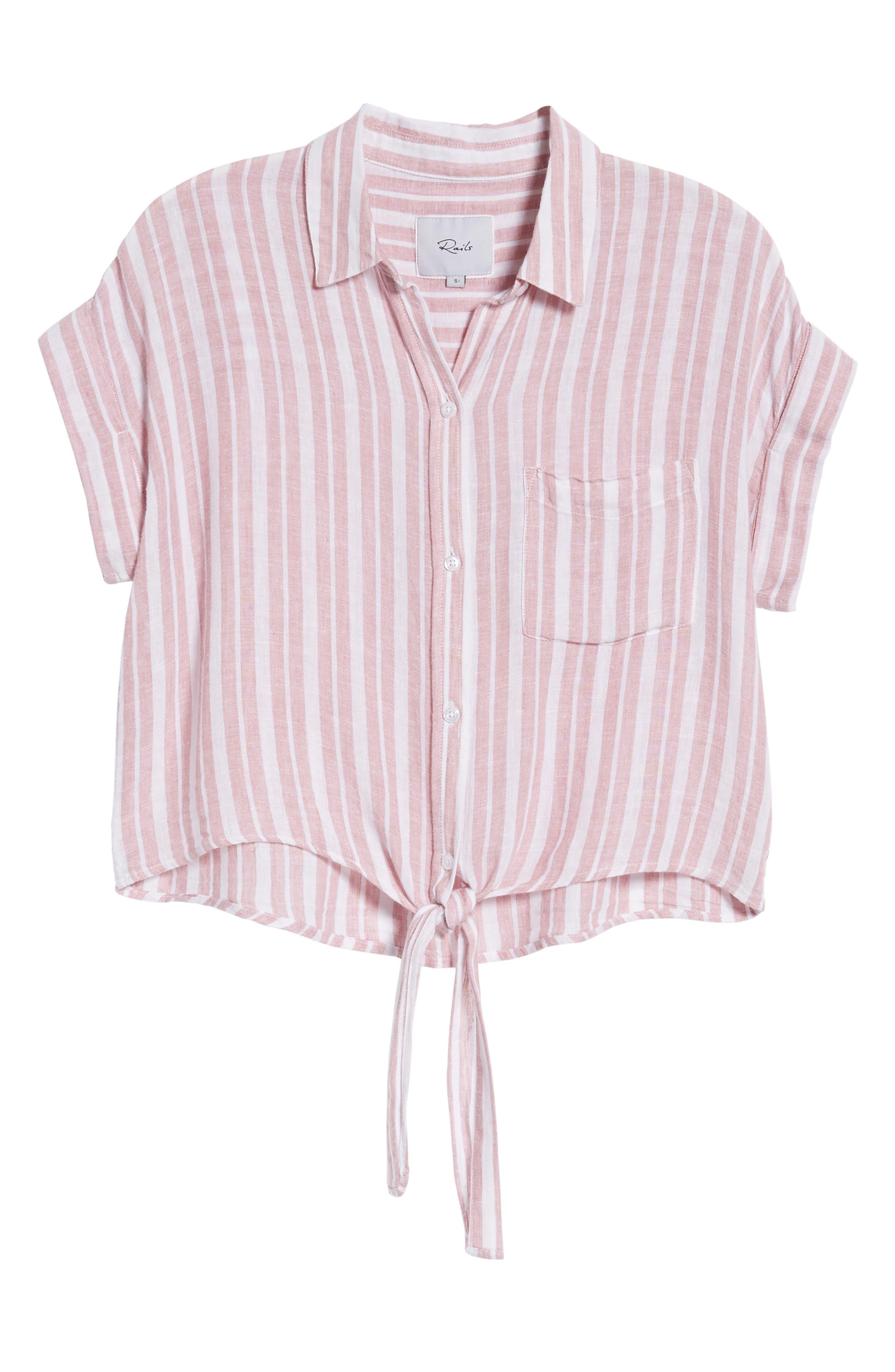 Amelie Tie Front Shirt,                             Alternate thumbnail 6, color,                             BORDEAUX STRIPE