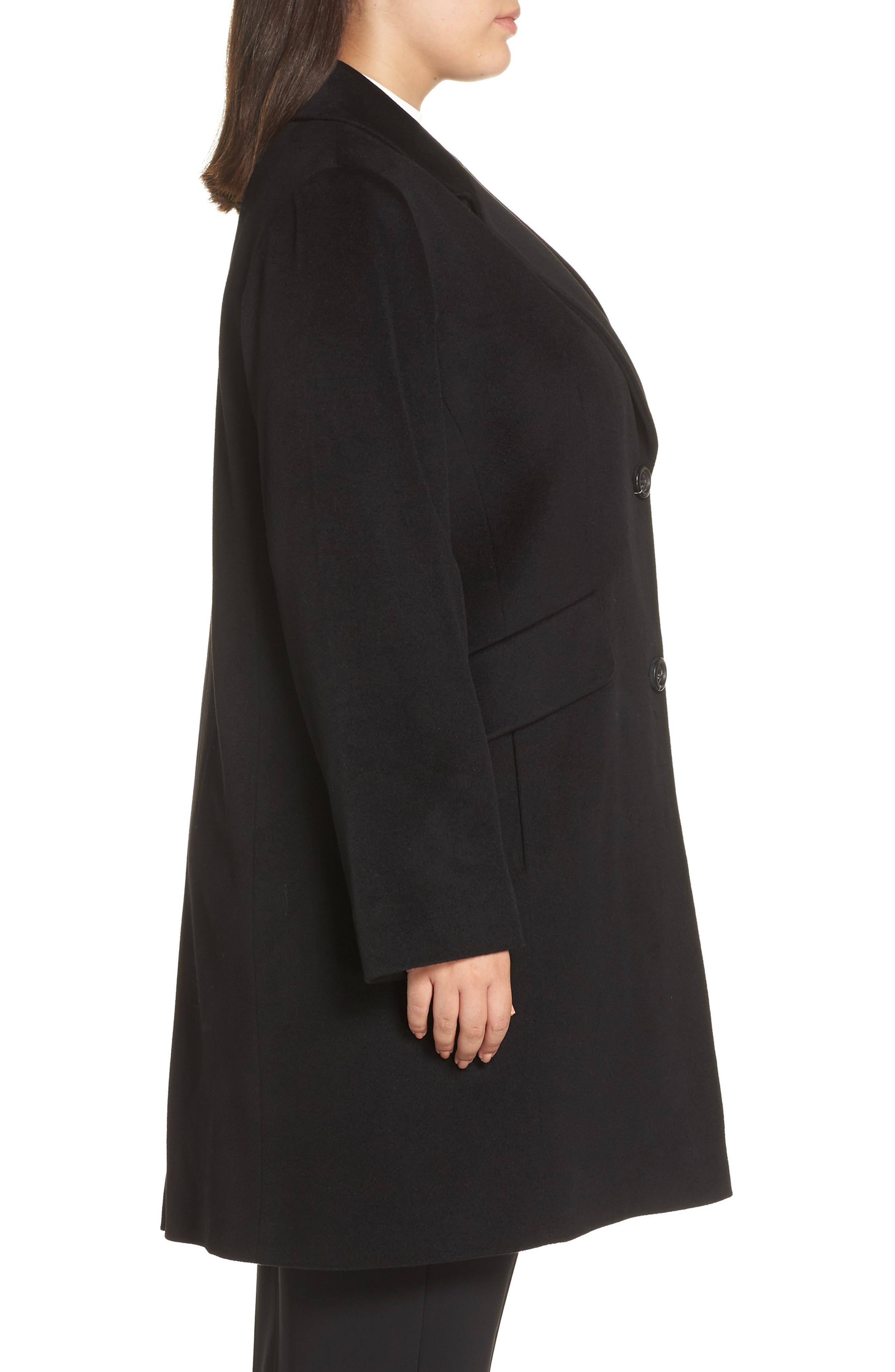 FLEURETTE,                             Notch Collar Loro Piana Wool Coat,                             Alternate thumbnail 3, color,                             BLACK