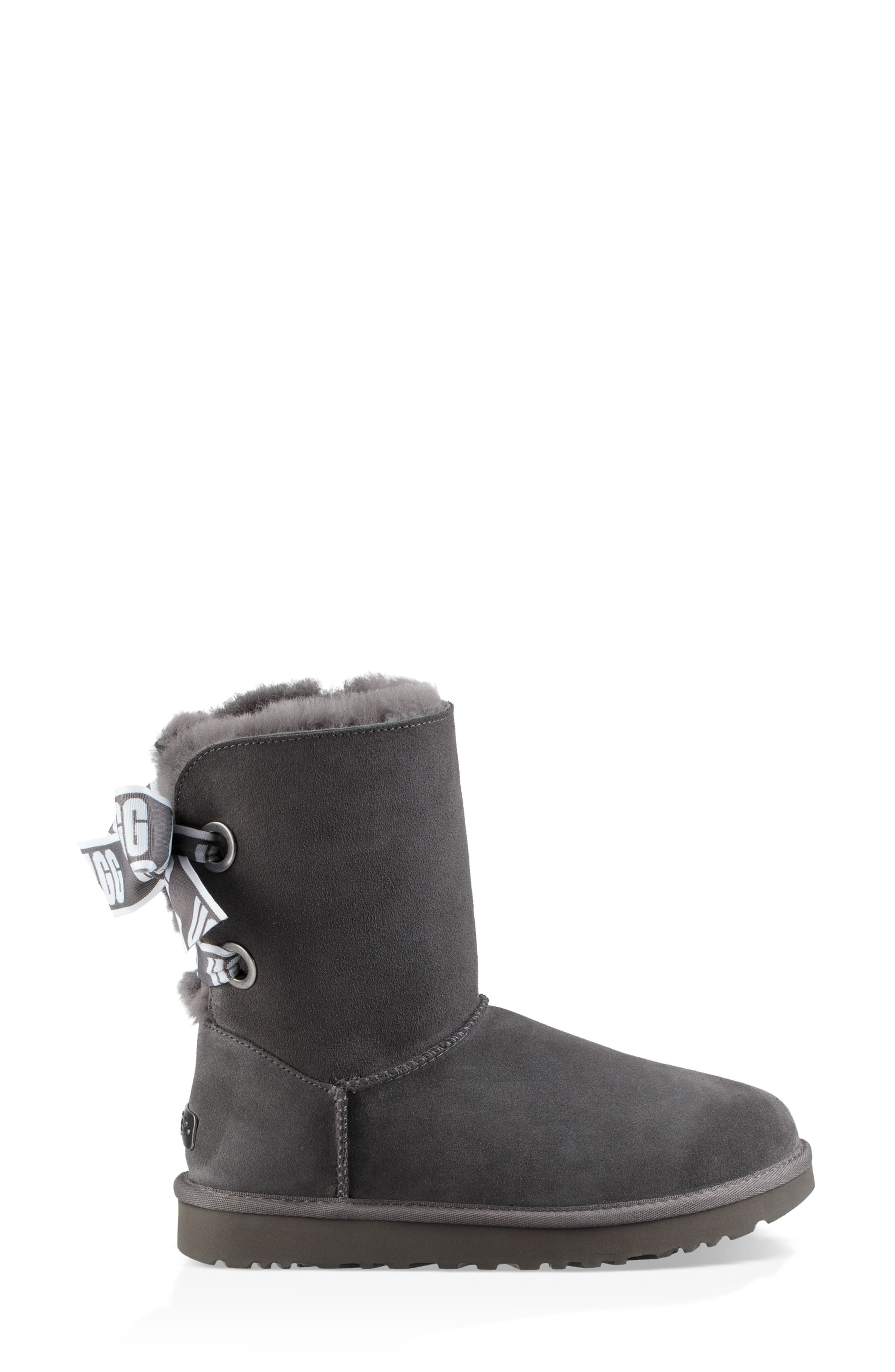 Customizable Bailey Bow Genuine Shearling Bootie,                             Alternate thumbnail 7, color,                             CHARCOAL SUEDE