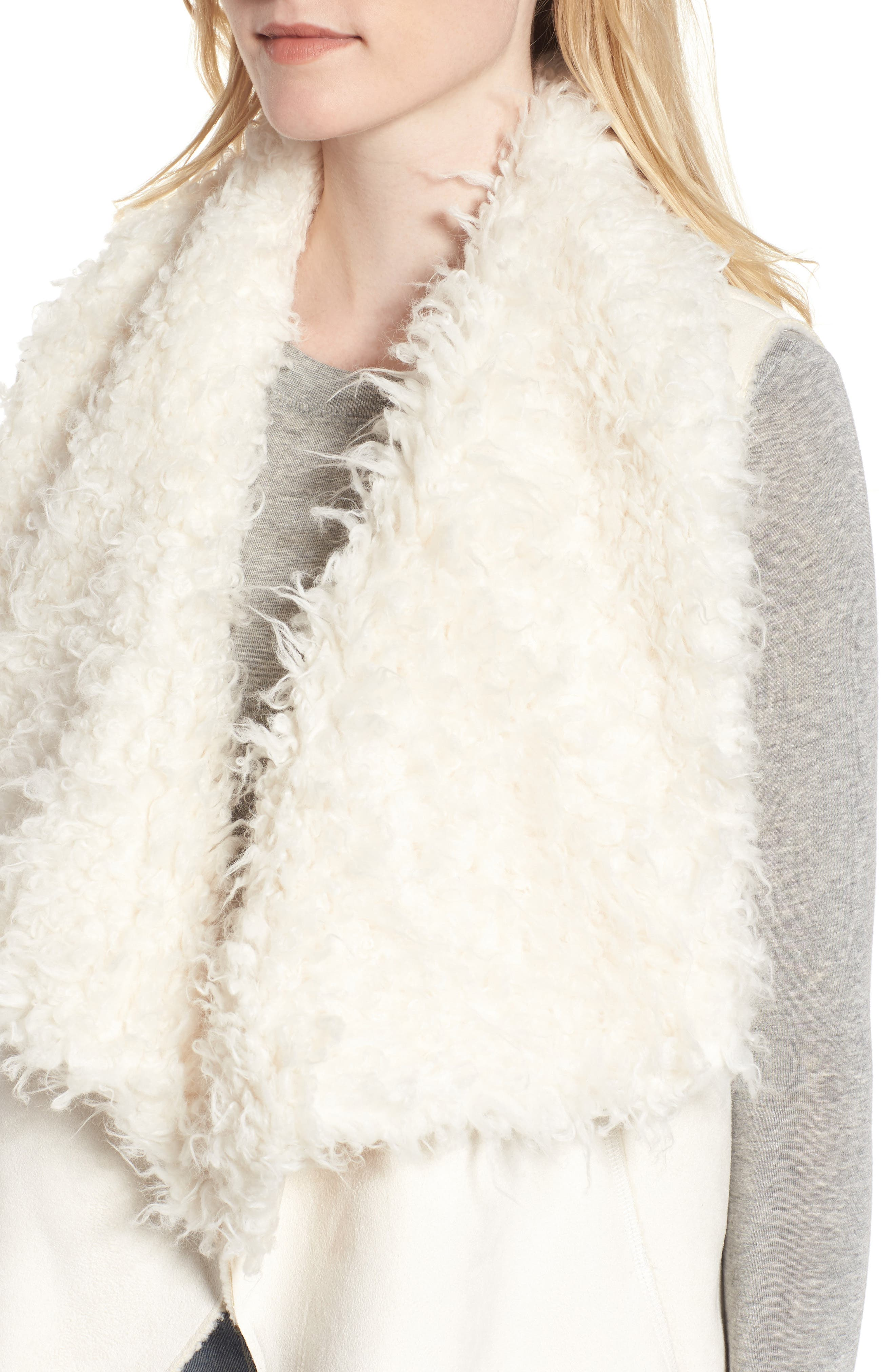 Dawn Maxi Fly Away Faux Shearling Vest,                             Alternate thumbnail 4, color,                             100