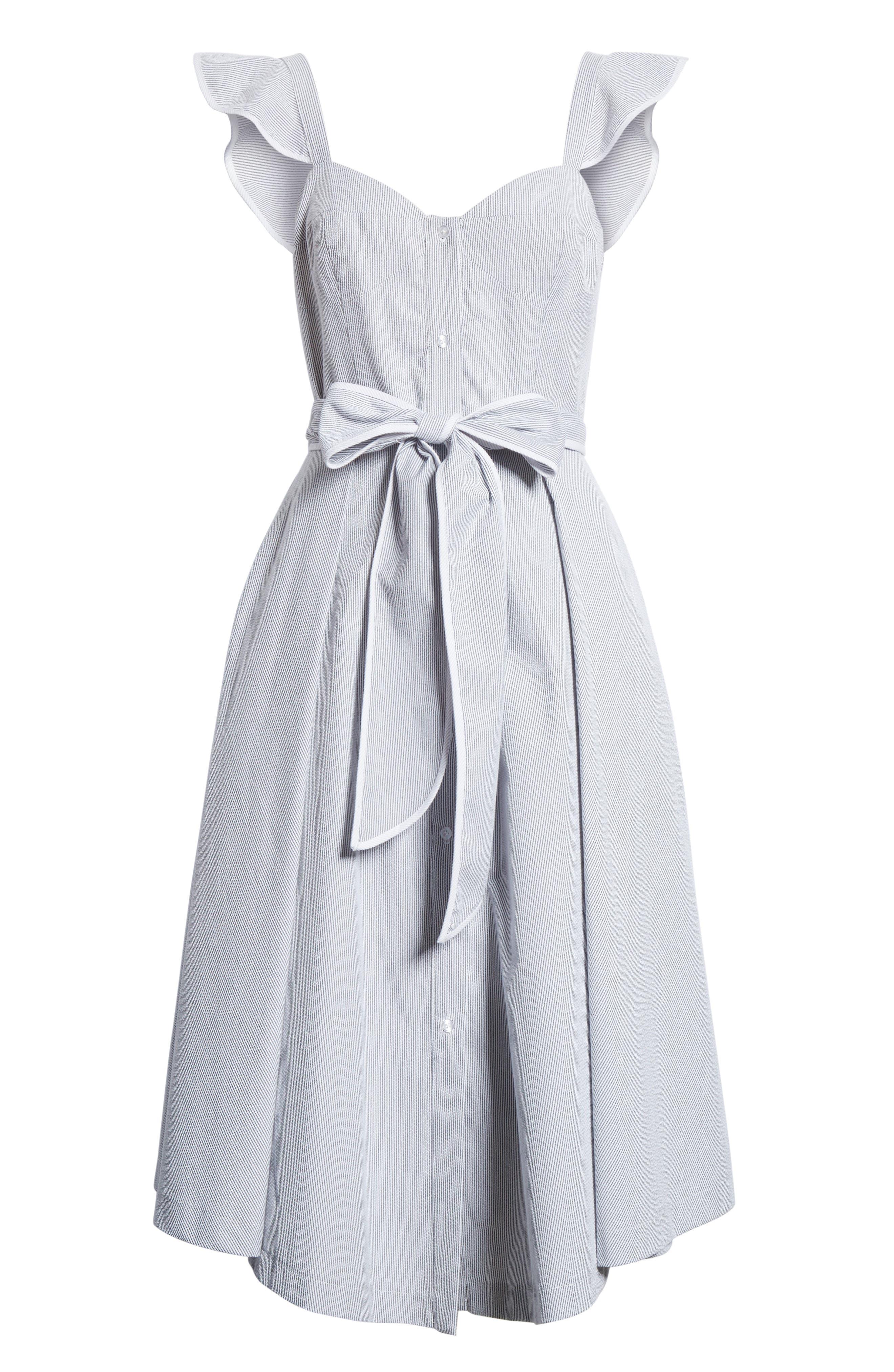 Ruffle Seersucker A-Line Dress,                             Alternate thumbnail 6, color,                             001