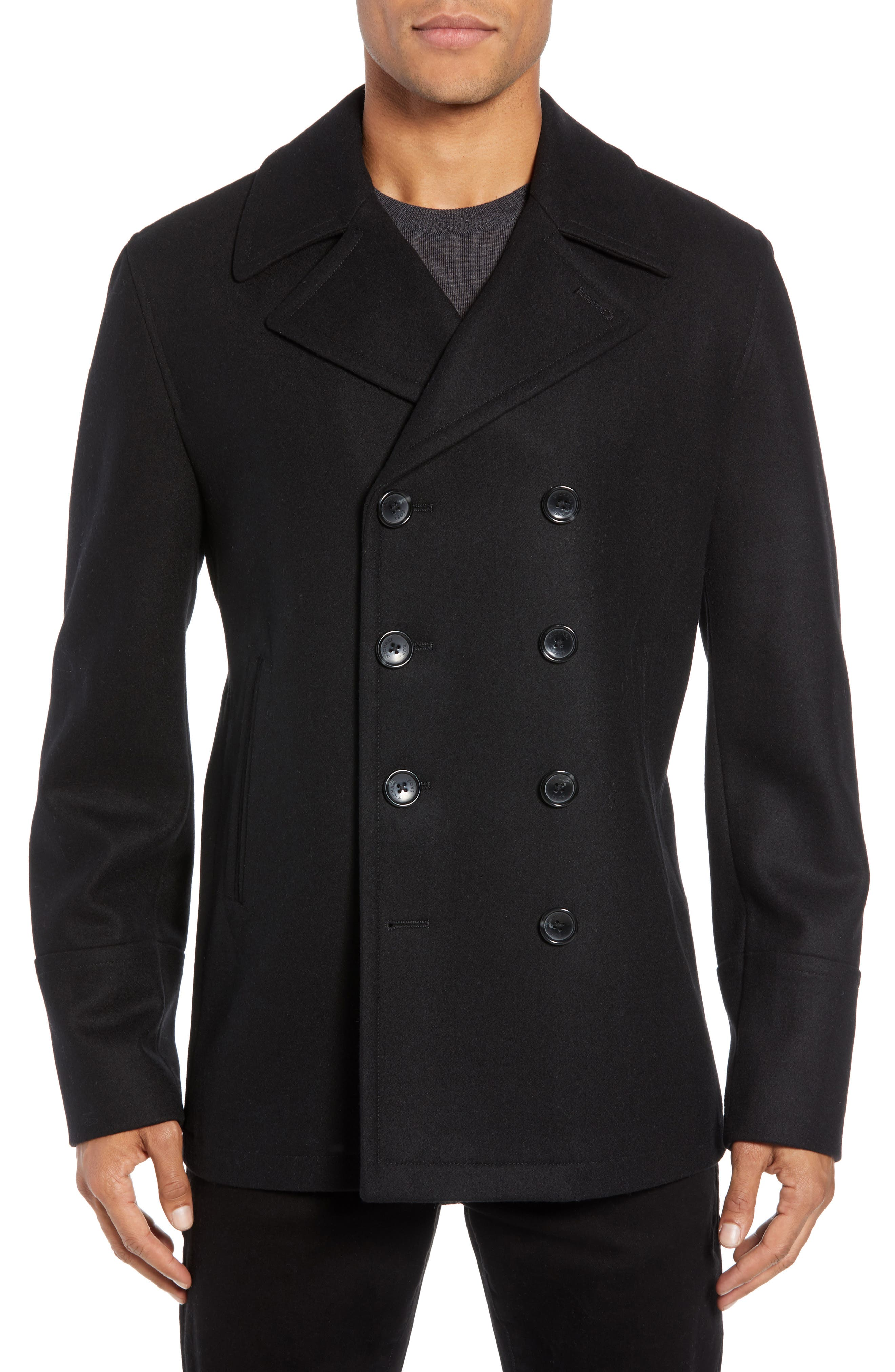 Wool Blend Double Breasted Peacoat,                             Alternate thumbnail 22, color,