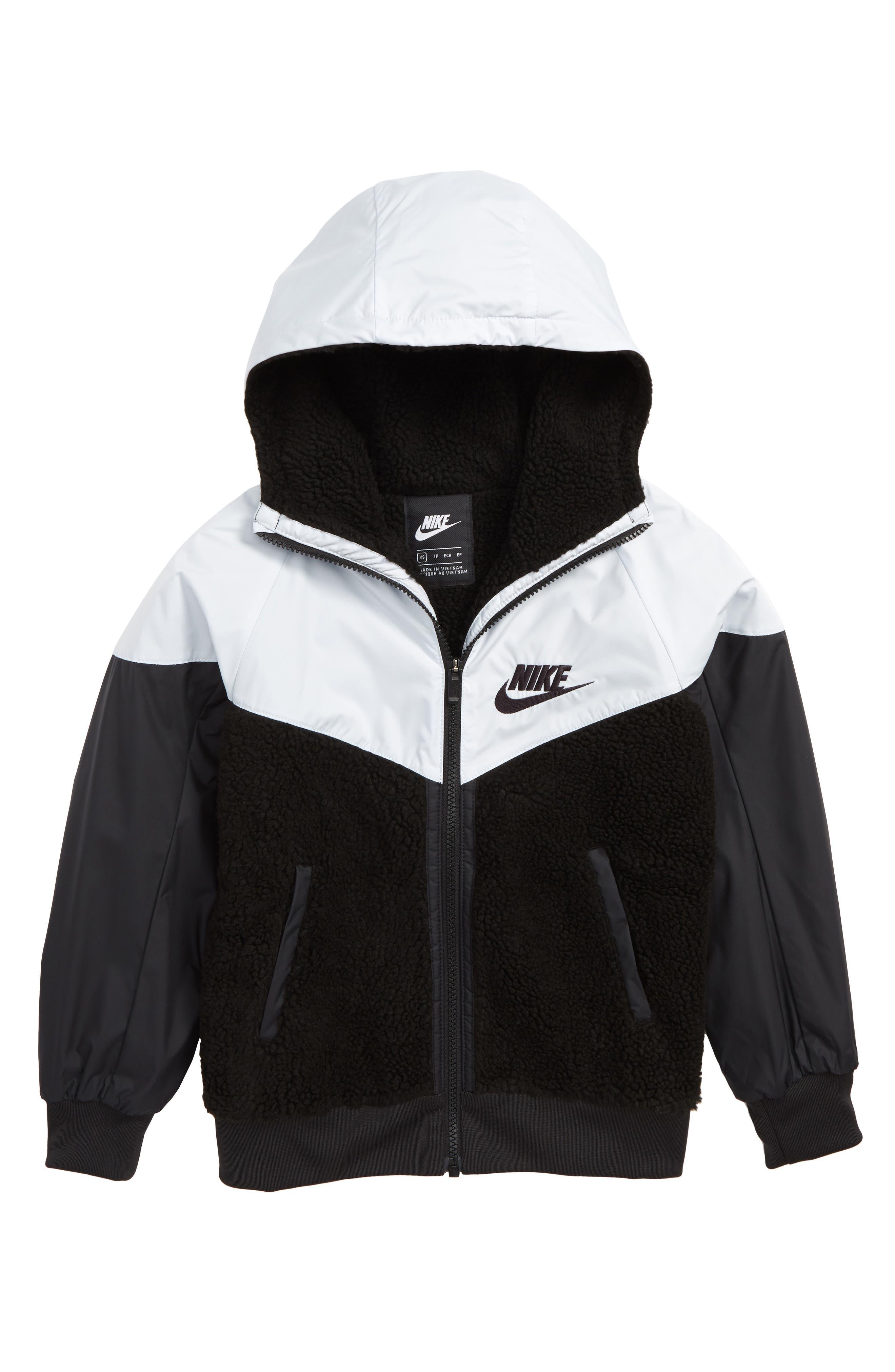 Sportswear Fleece Hooded Windrunner Jacket,                         Main,                         color, BLACK/ PURE PLATINUM