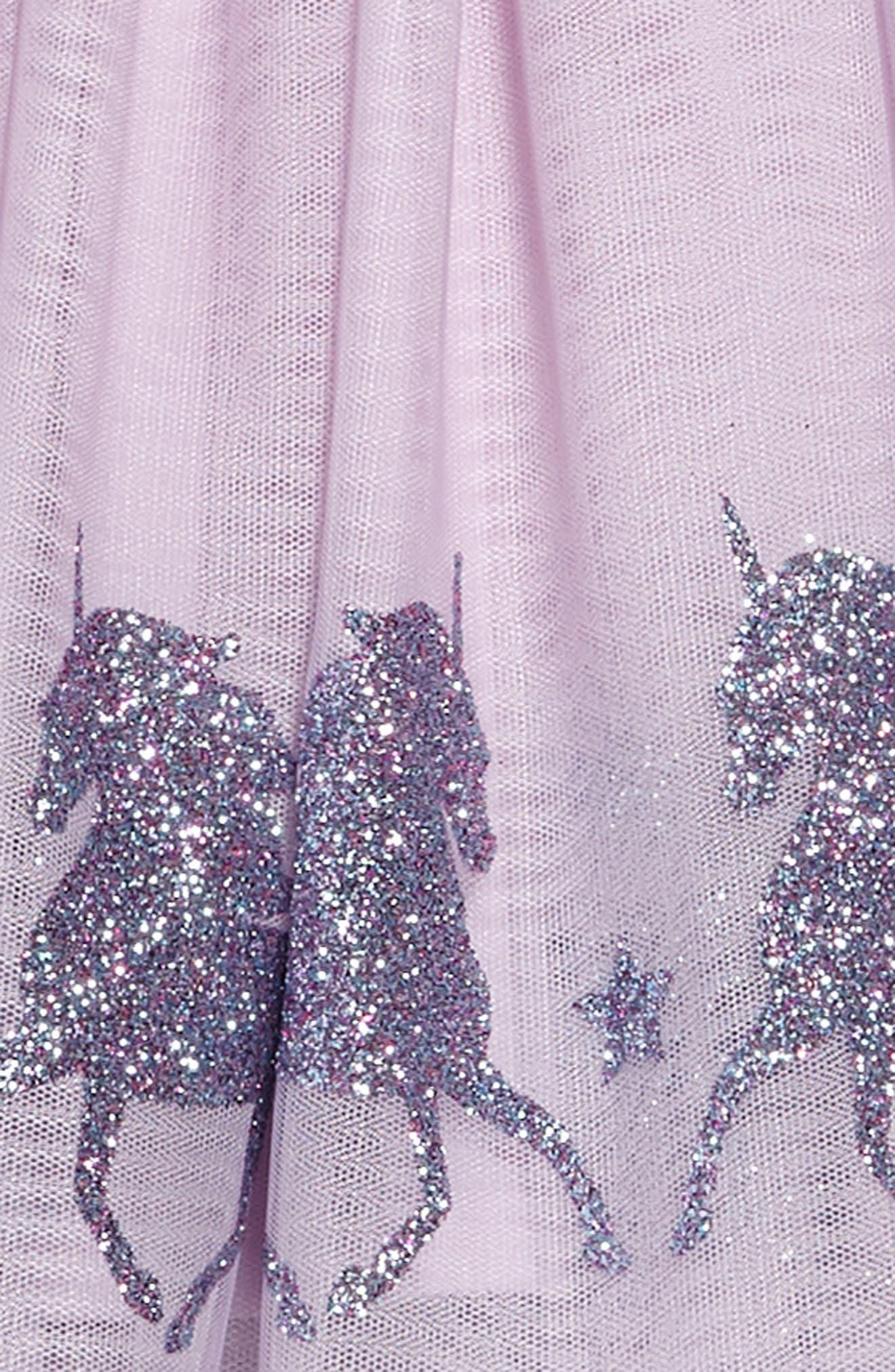 Glittery Unicorn Ballerina Dress,                             Alternate thumbnail 3, color,                             LAVENDER